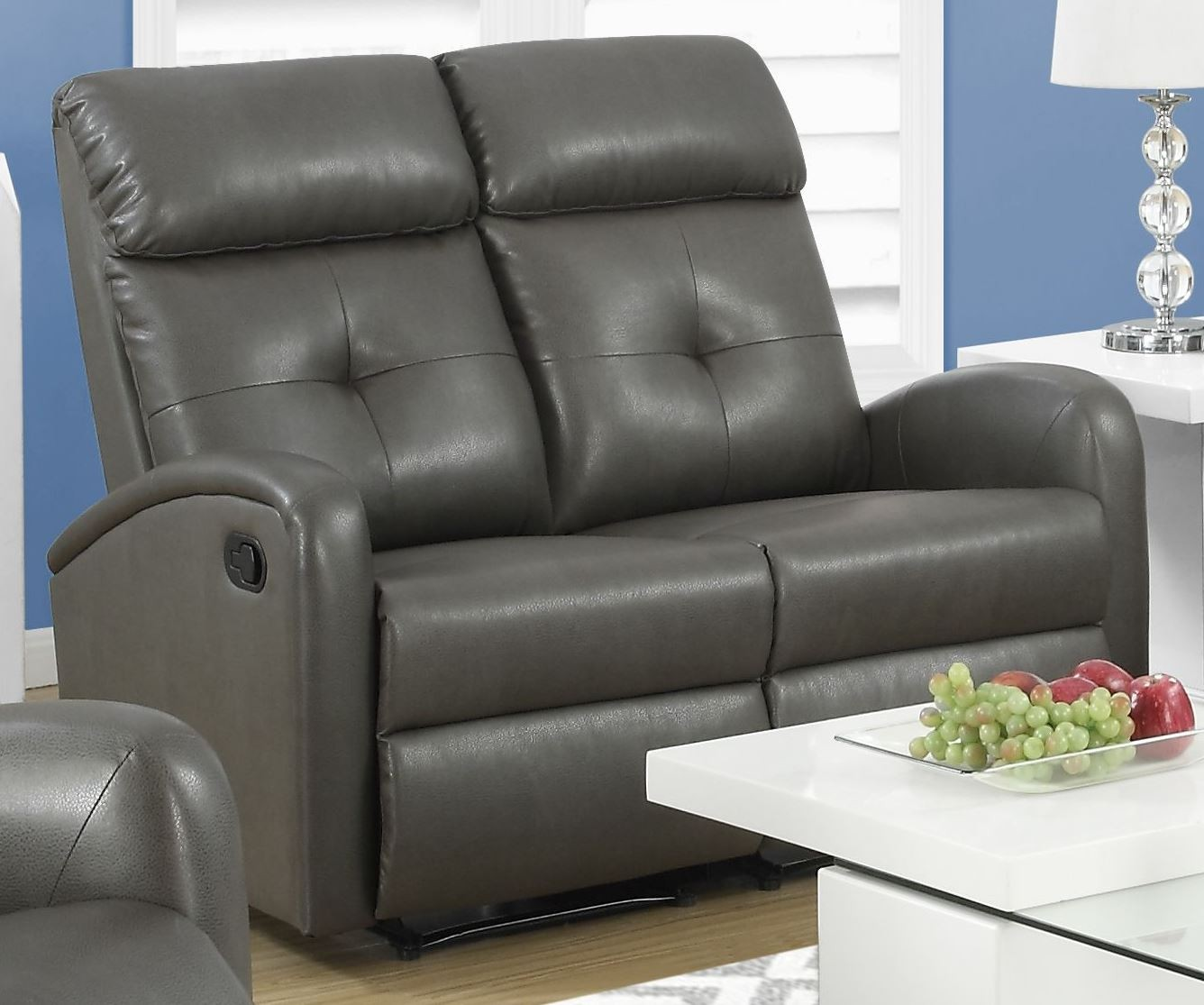 88gy 2 Charcoal Grey Bonded Leather Reclining Loveseat 88gy 2 Monarch