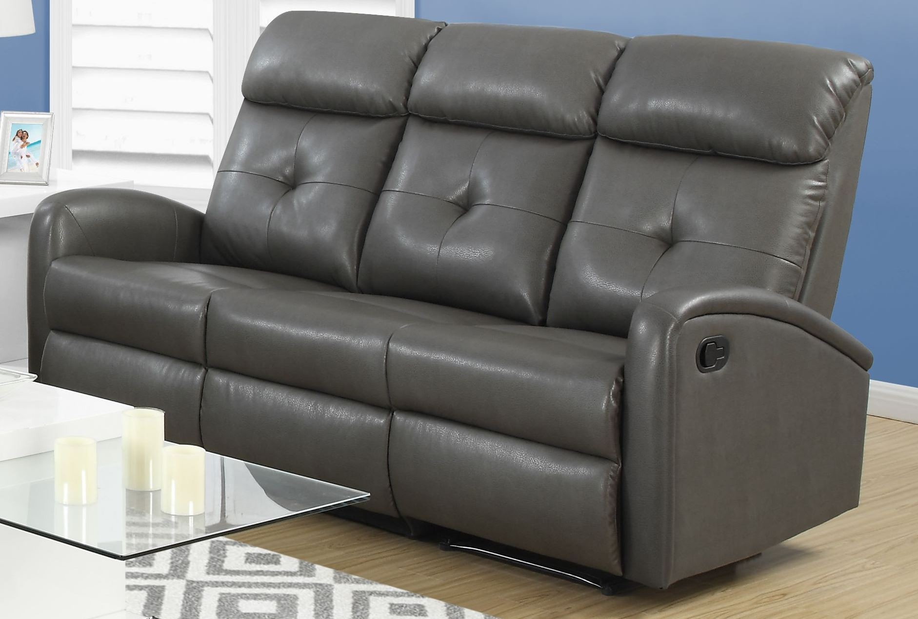 88gy 3 charcoal grey bonded leather reclining sofa 88gy 3 monarch. Black Bedroom Furniture Sets. Home Design Ideas