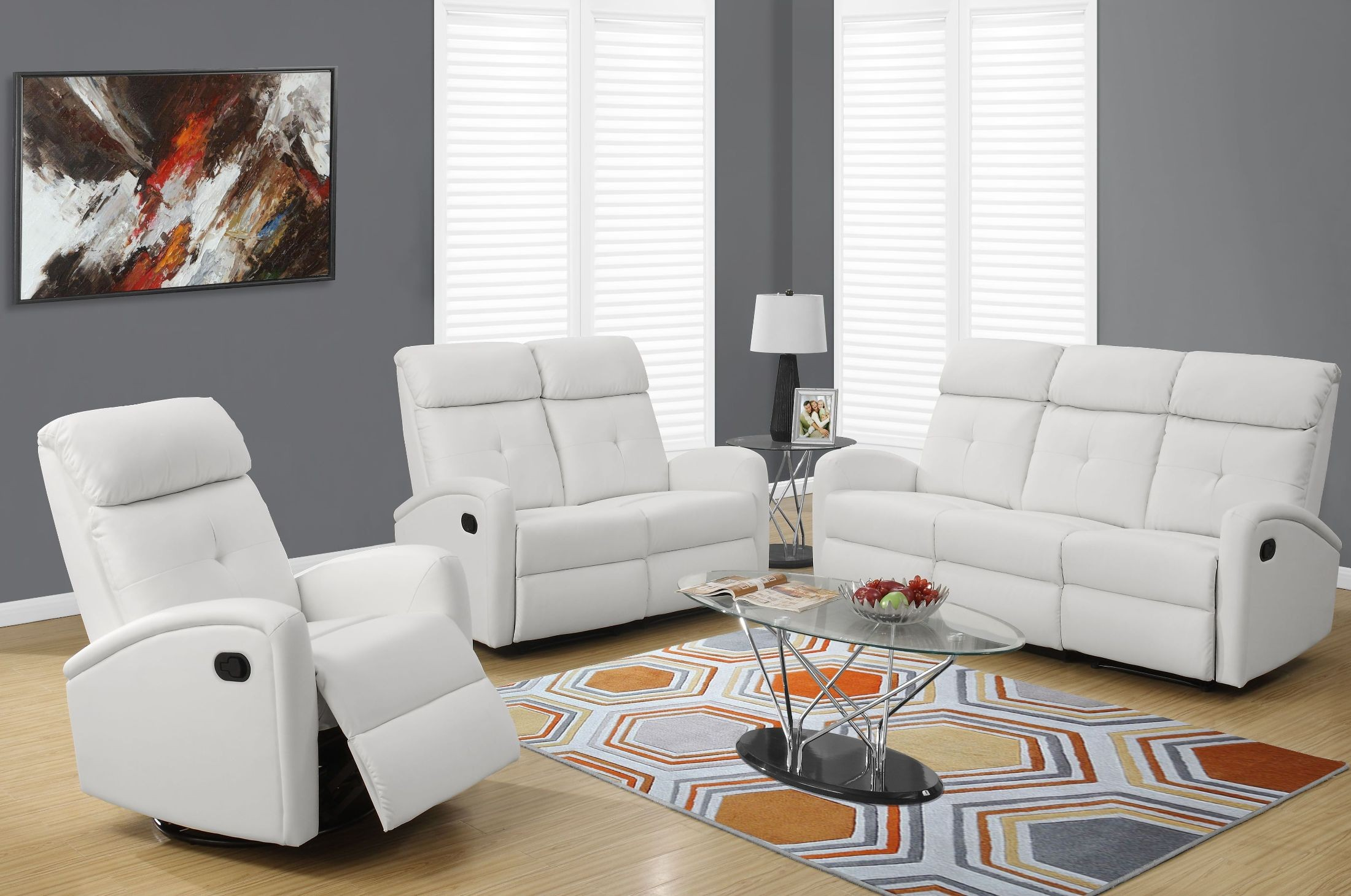 88wh 3 white bonded leather reclining living room set