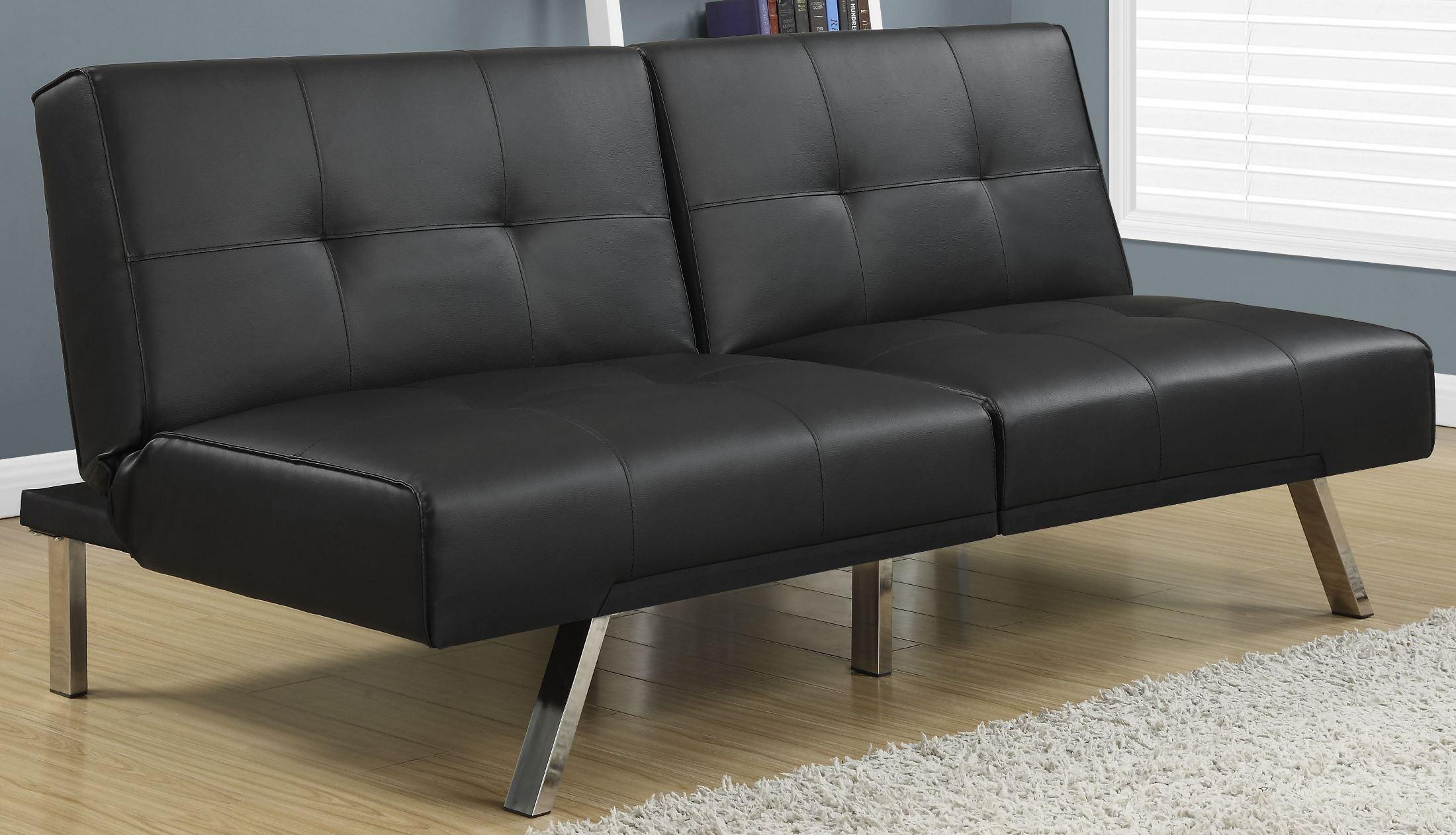 8935 Black Leather Split Back Clack Futon 8935 Monarch