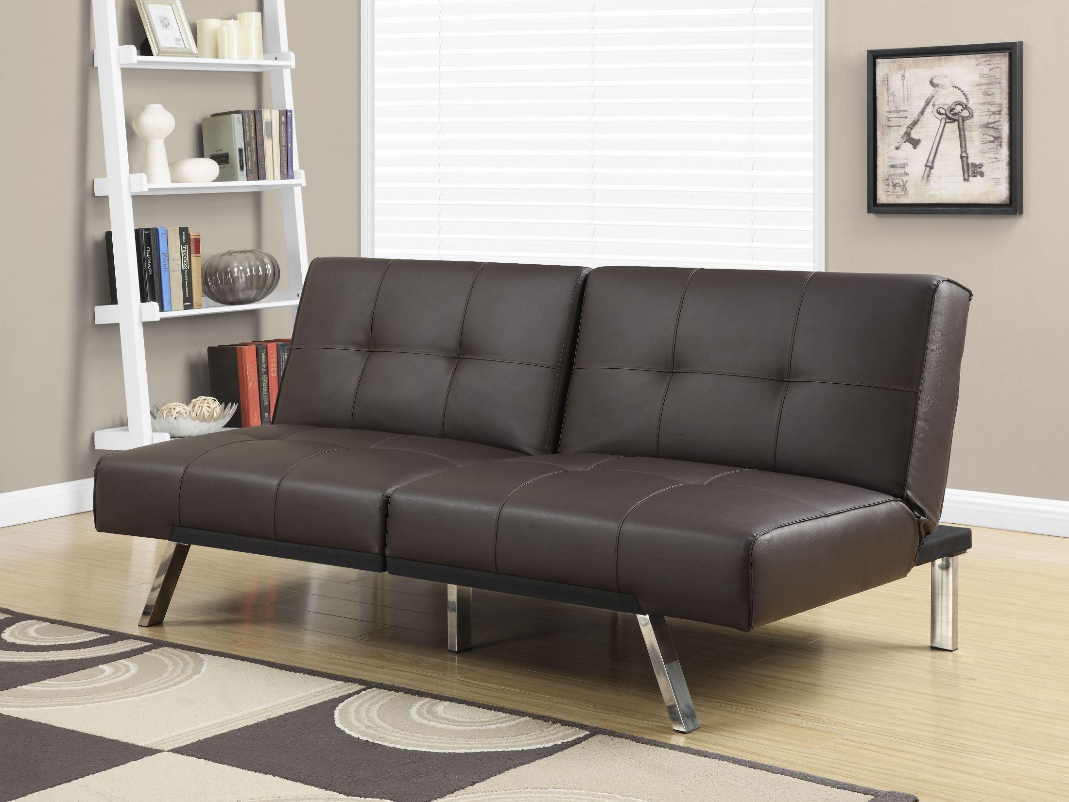 8936 Dark Brown Leather Split Back Clack Futon 8936