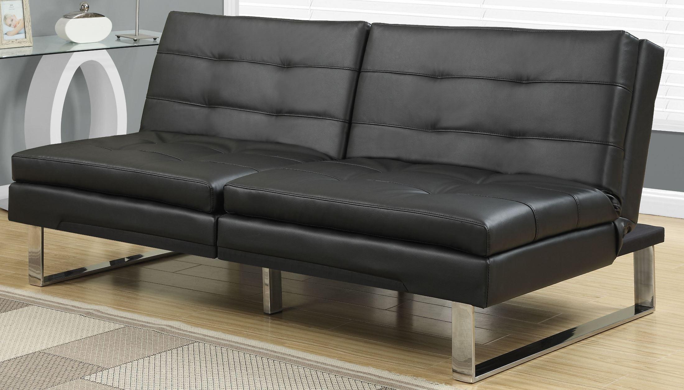 8948 Black Leather Split Back Click Clack Futon 8948 Monarch