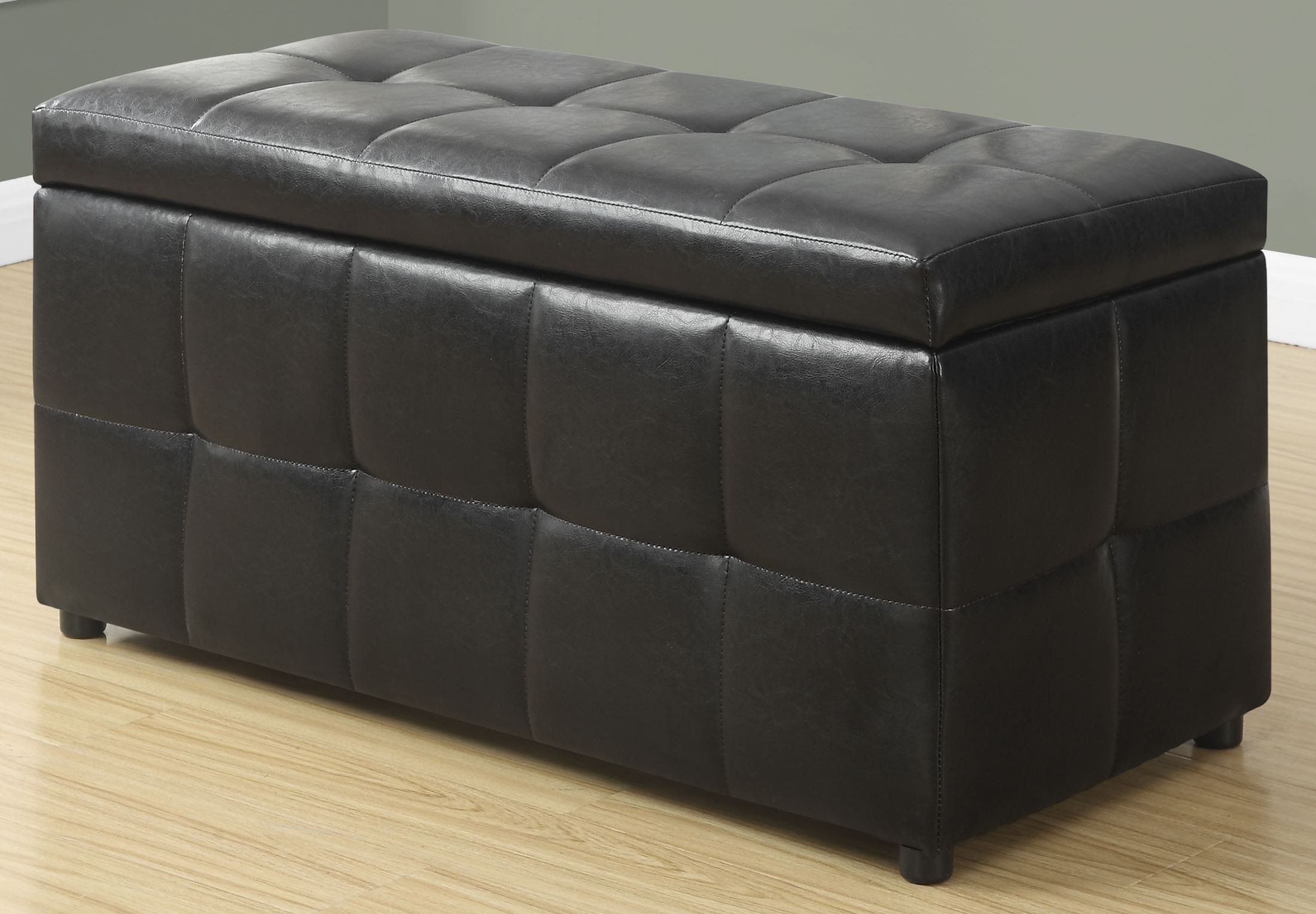 Dark brown leather storage ottoman 8984 monarch for Dark brown leather storage ottoman