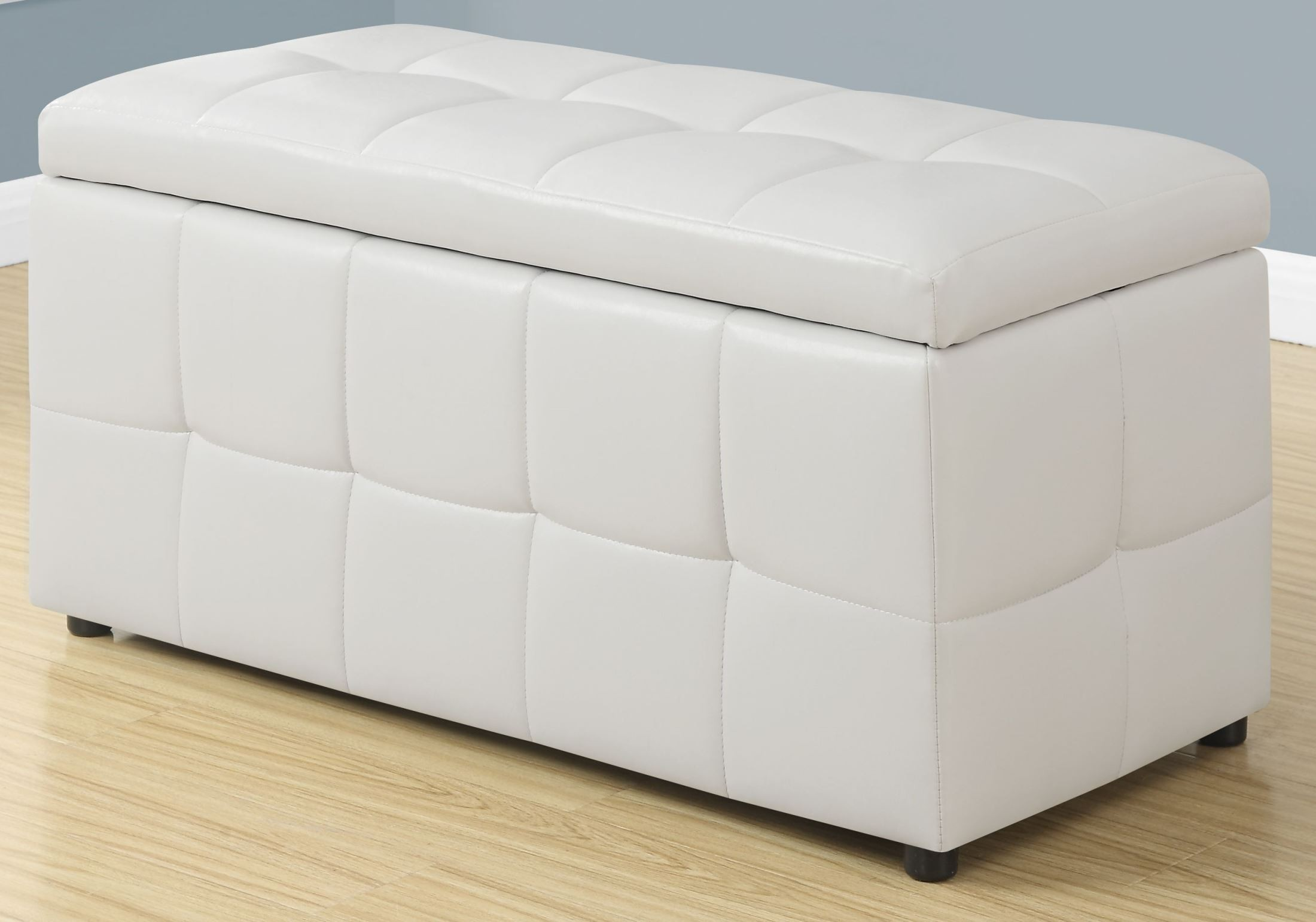 white leather storage ottoman 8985 monarch. Black Bedroom Furniture Sets. Home Design Ideas