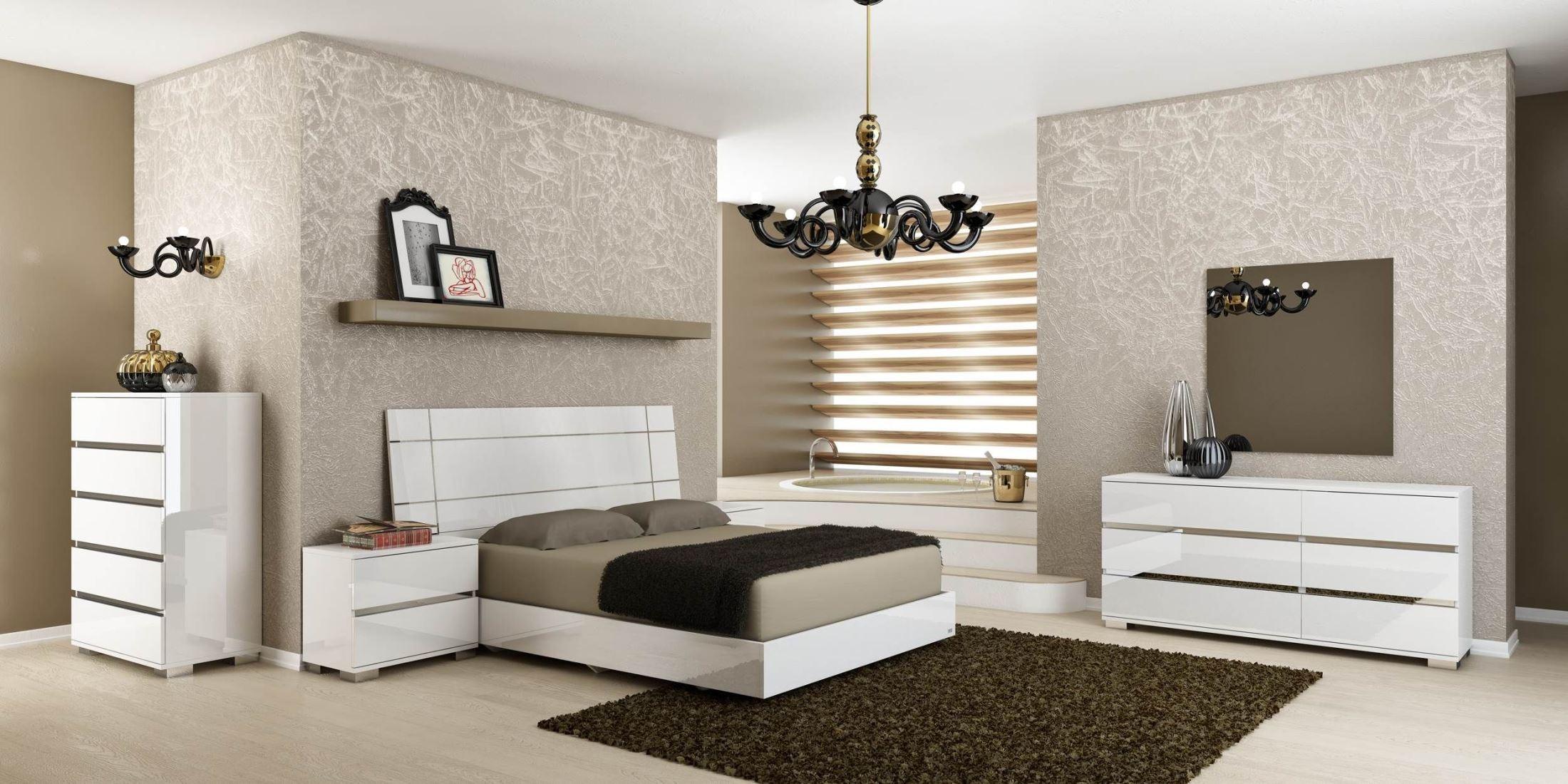 vivente icon white high gloss platform bedroom set from star
