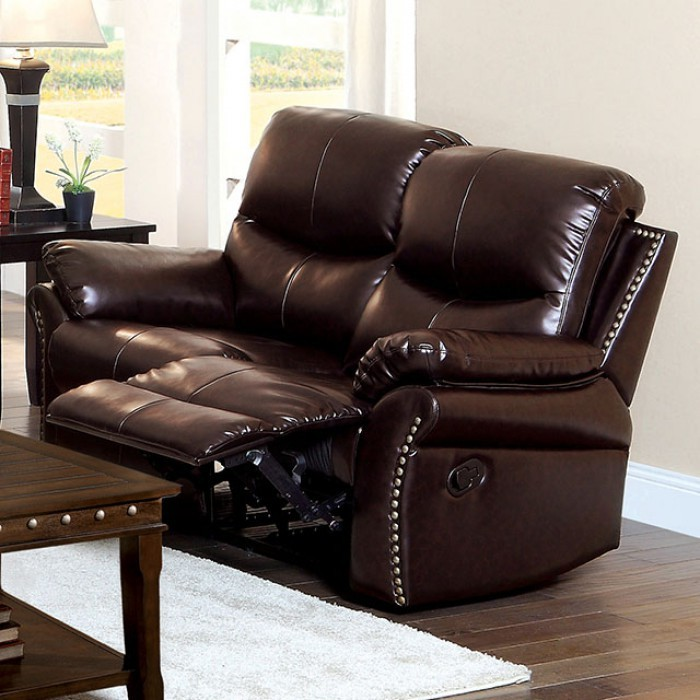 Dudhope Rustic Dark Brown Reclining Loveseat Cm6718 L Furniture Of America