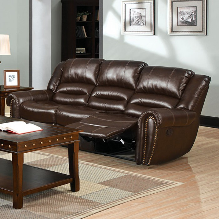 Dudhope dark brown reclining living room set cm6960 s for Dark brown living room set