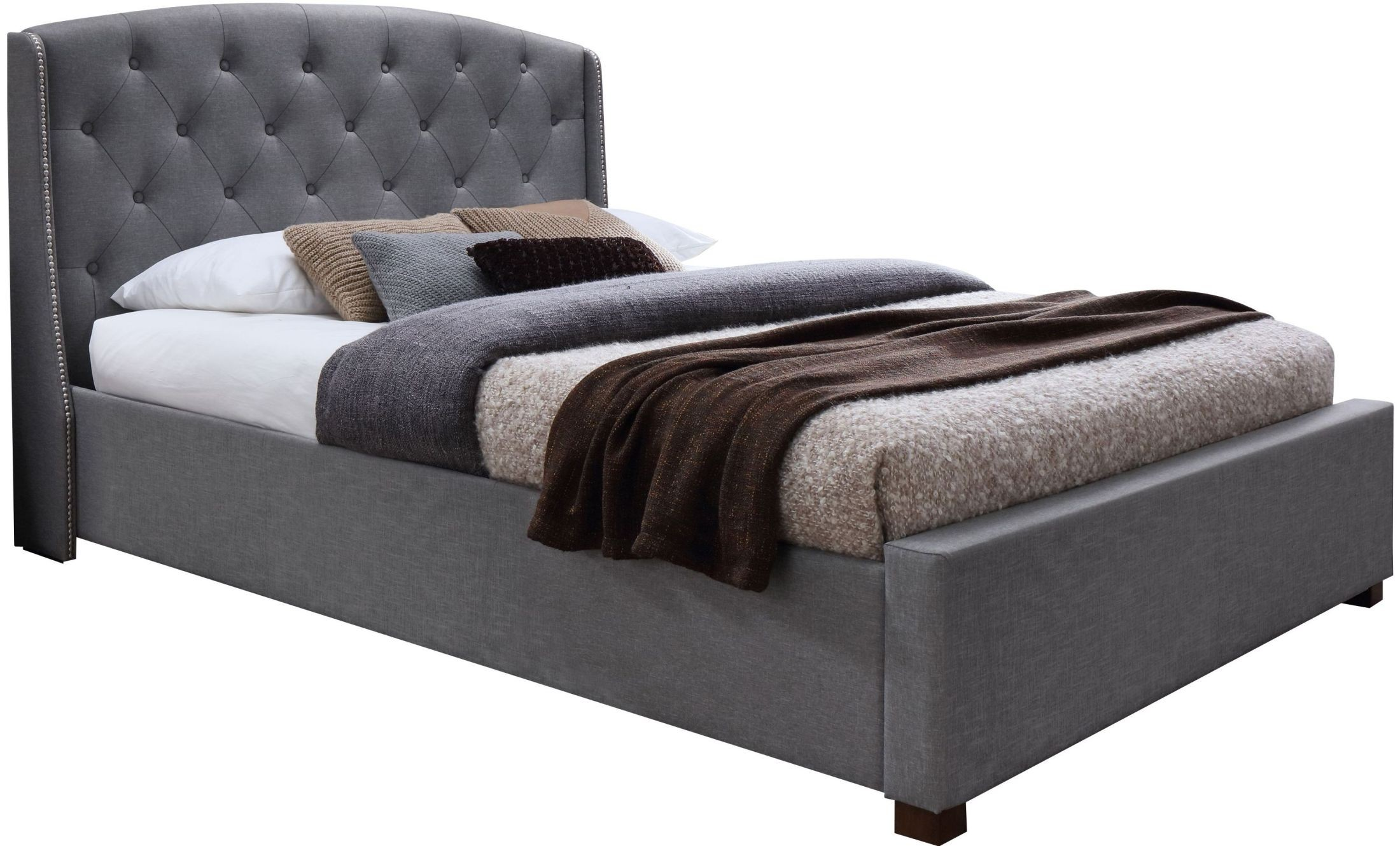 Iris Gray King Upholstered Platform Bed 18252 K J M