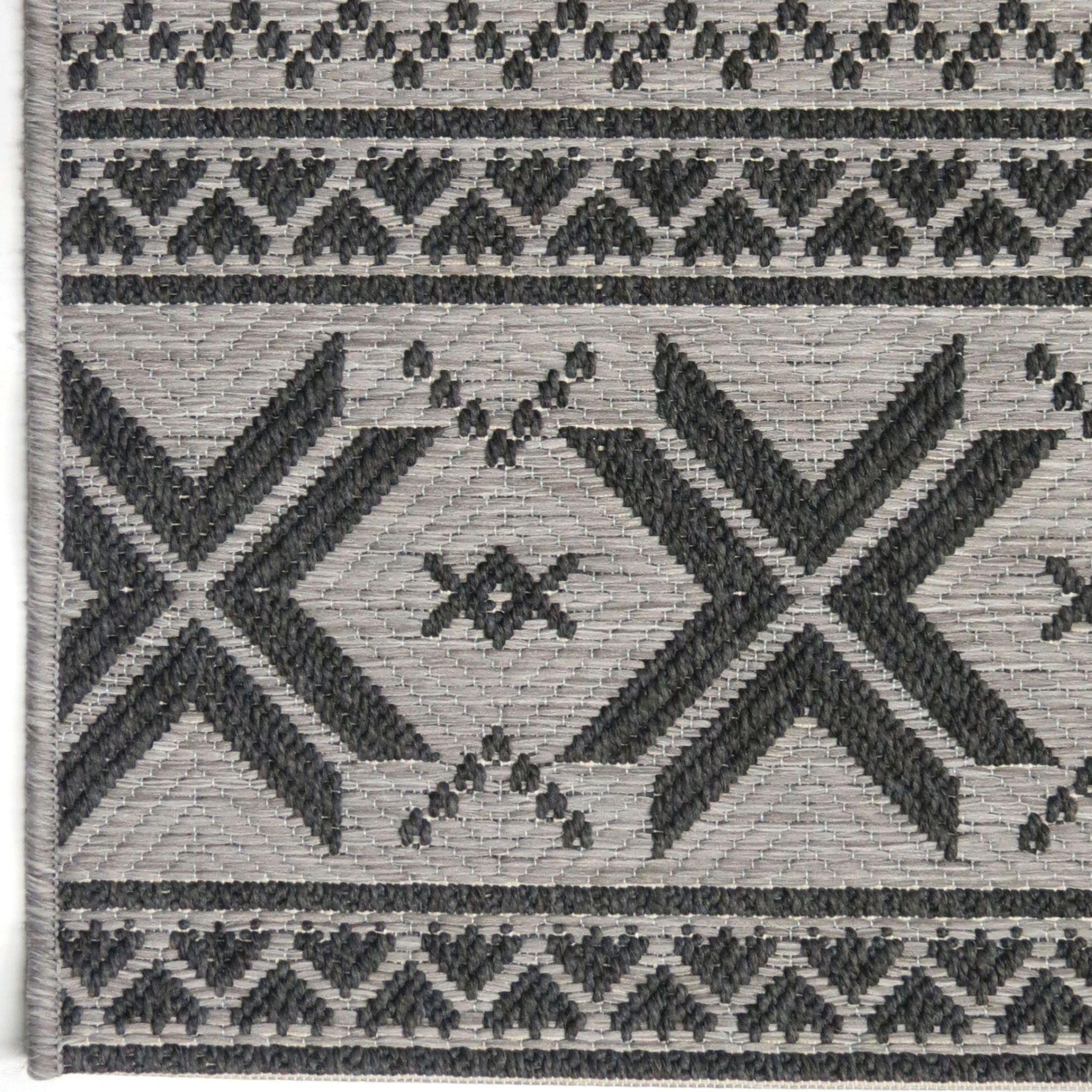 Orian Rugs Indoor Outdoor Textured Cablecross Charcoal