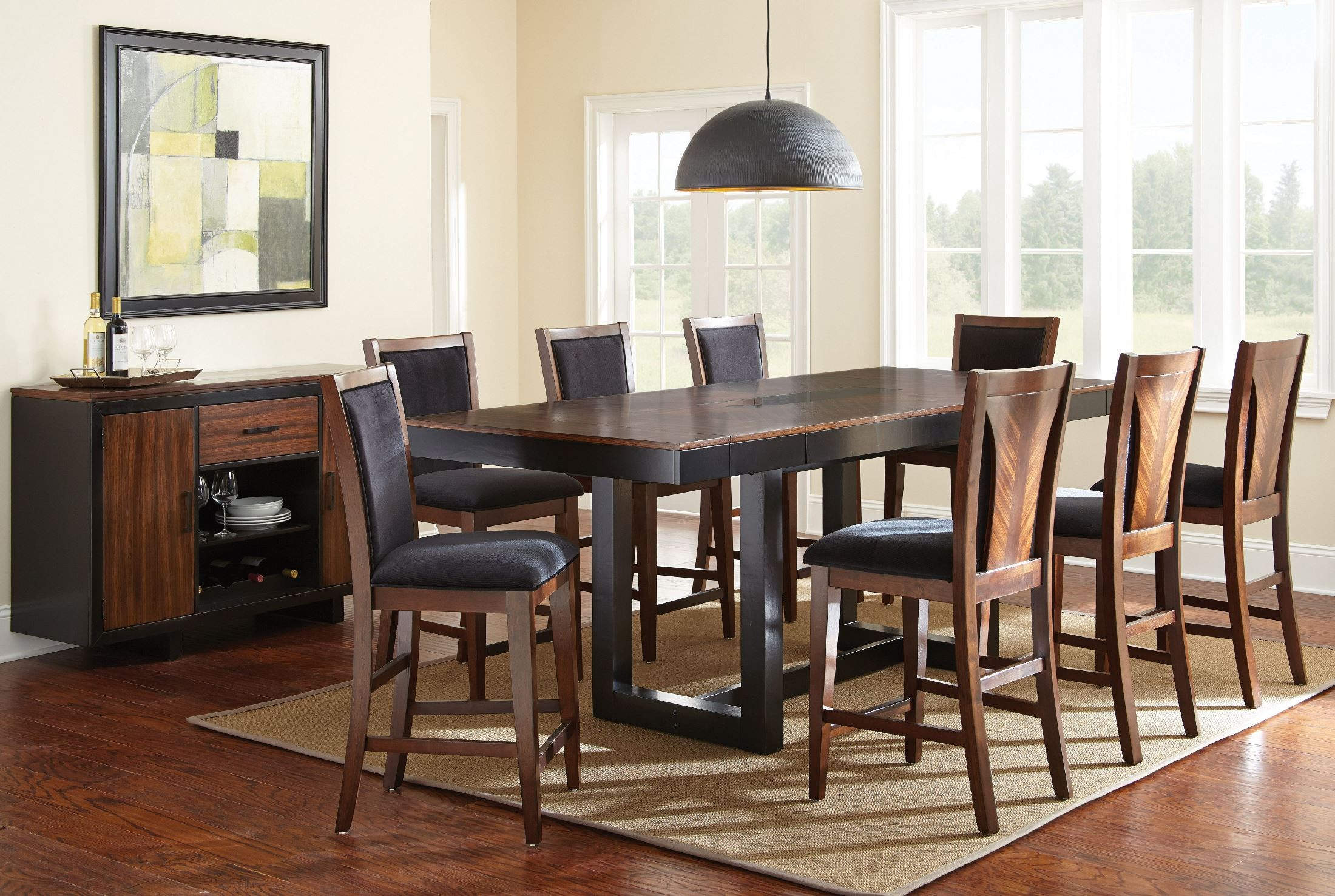 julian extendable rectangular counter height dining room set from