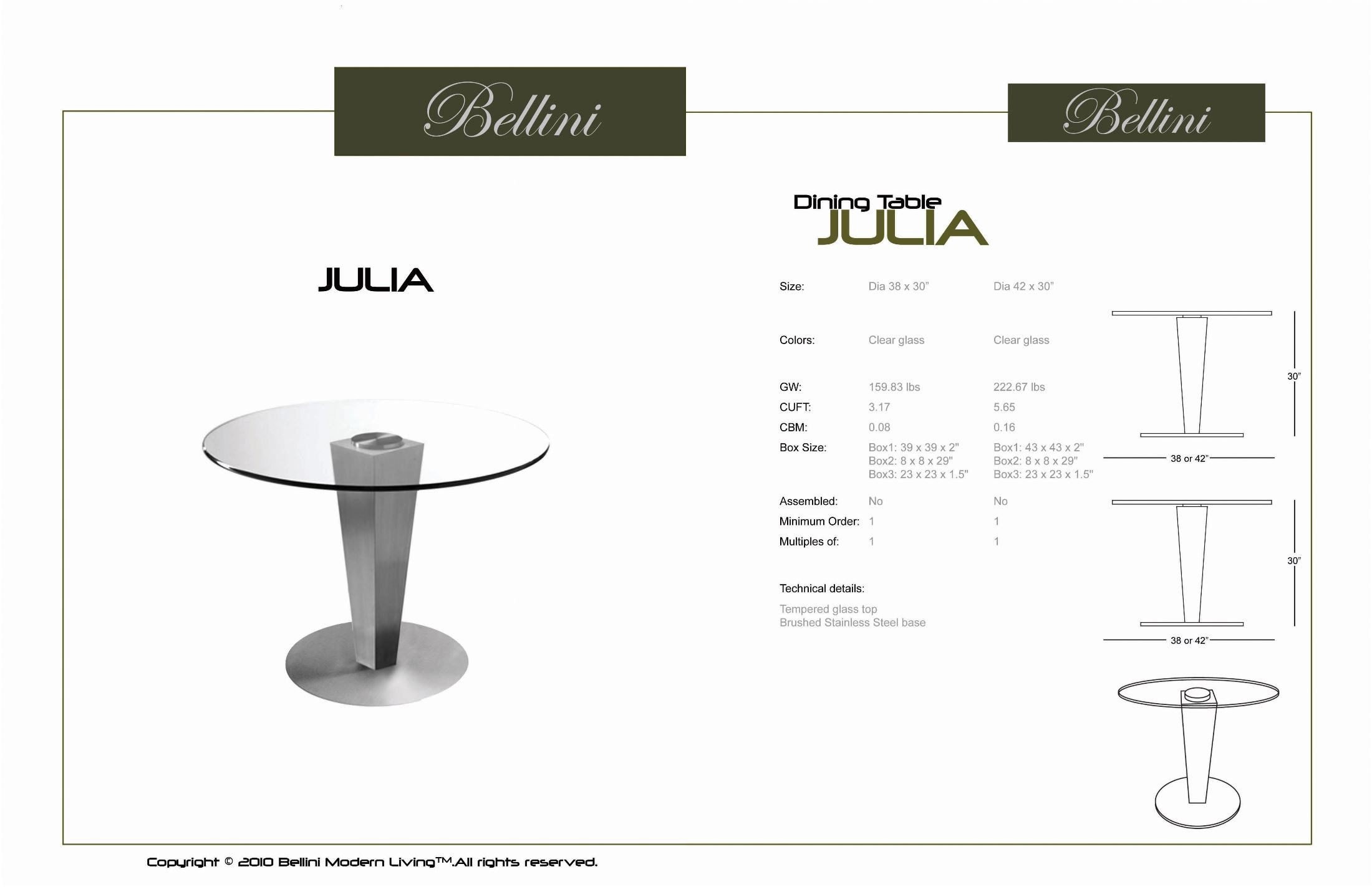 Julia 42quot Glass Round Dining Table from Bellini Modern  : julia21 from colemanfurniture.com size 2200 x 1423 jpeg 166kB