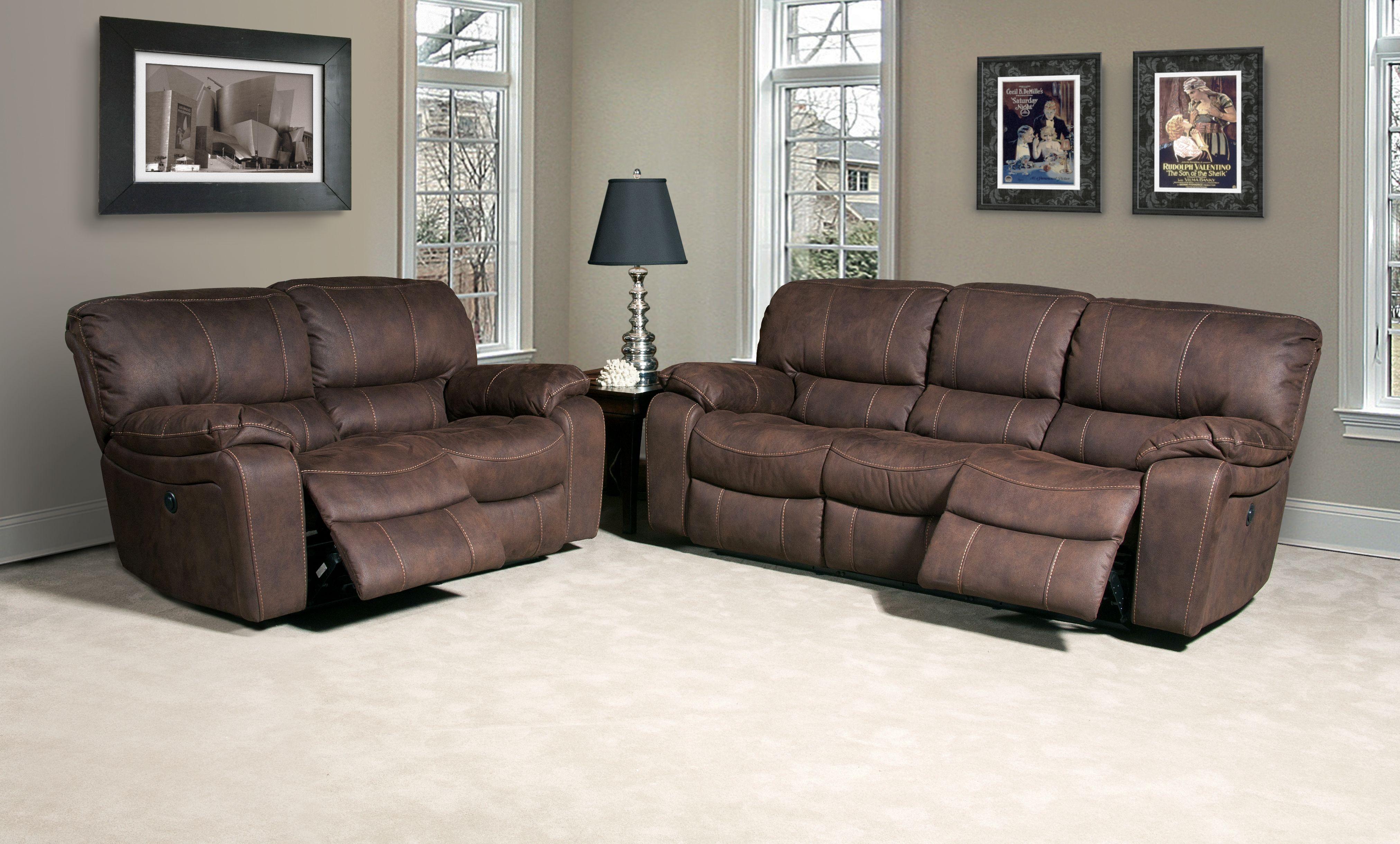 Jupiter Dark Kahlua Dual Reclining Living Room Set from