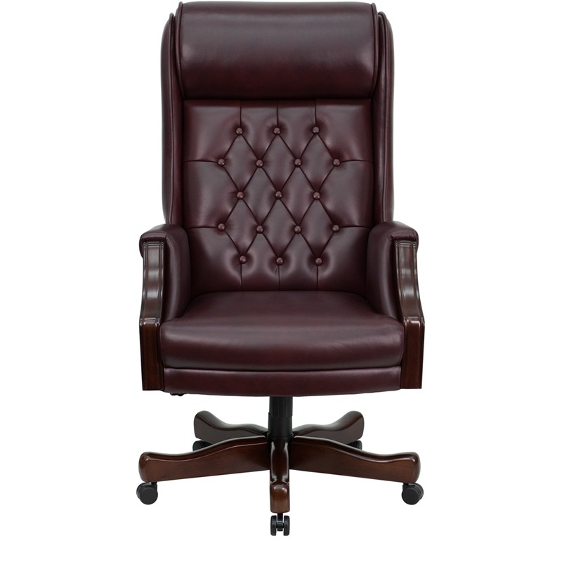 White Leather High Back Office Chair Headrest