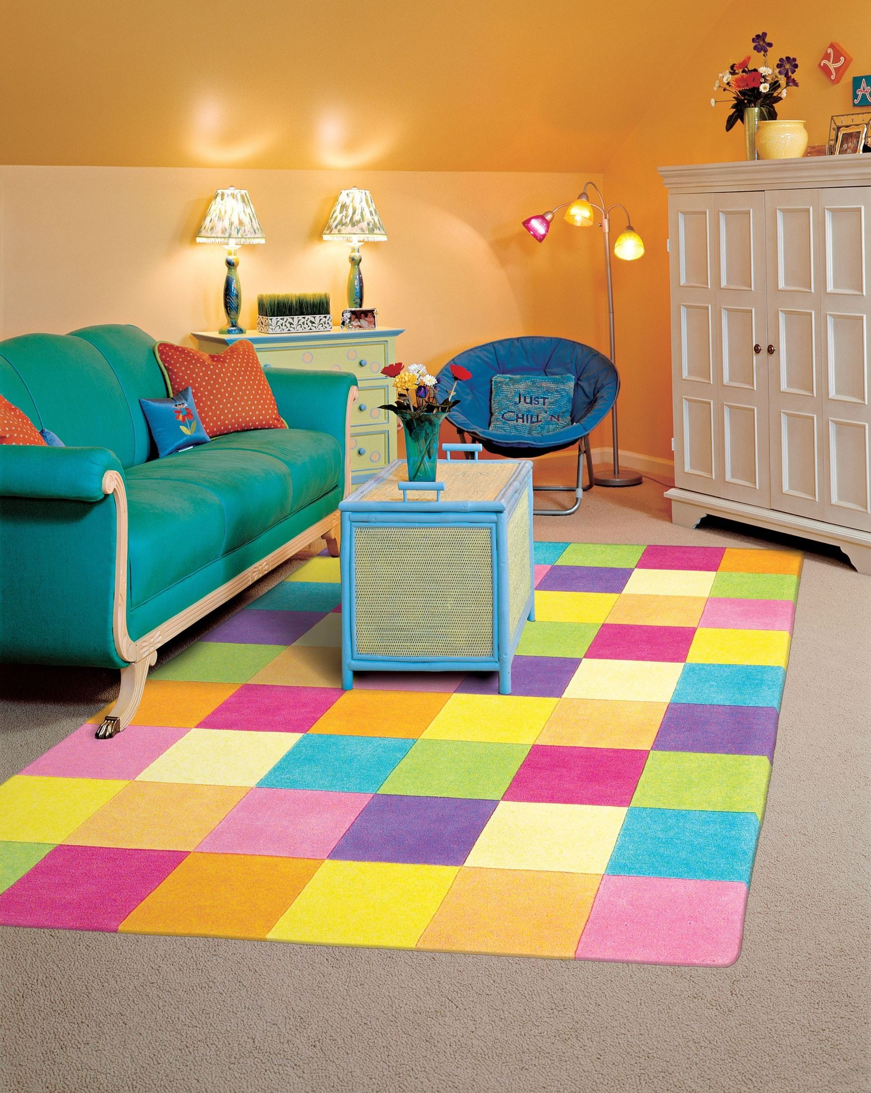 Kidding around girl 39 s color blocks 63 x 39 rug kid042033x53 kas rugs - Amazing style rugs for kids rooms ...