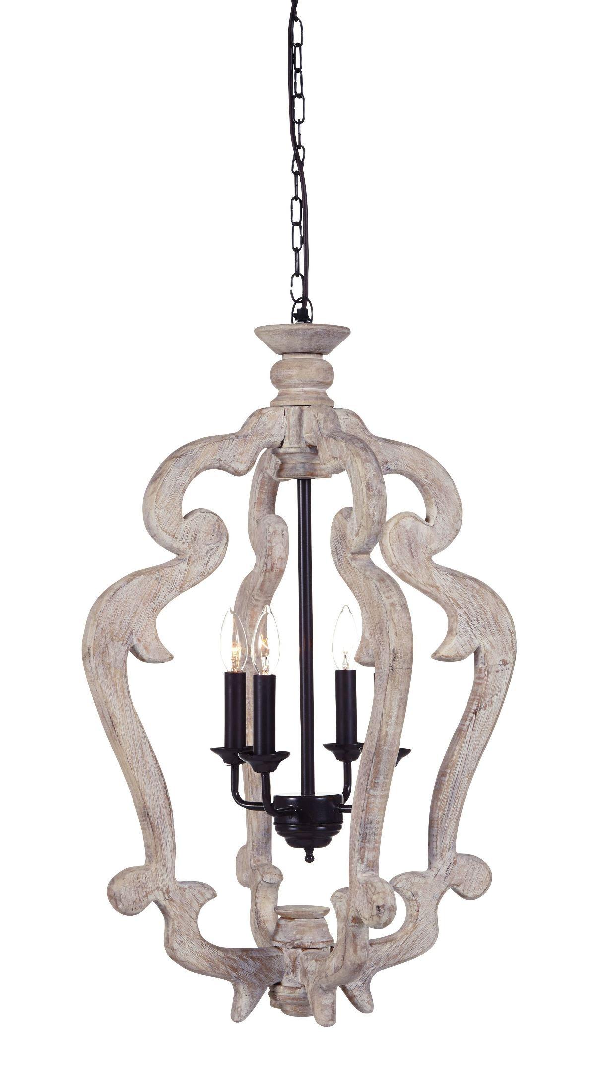 Jocelin Distressed White Wood Pendant Light L000548 Ashley