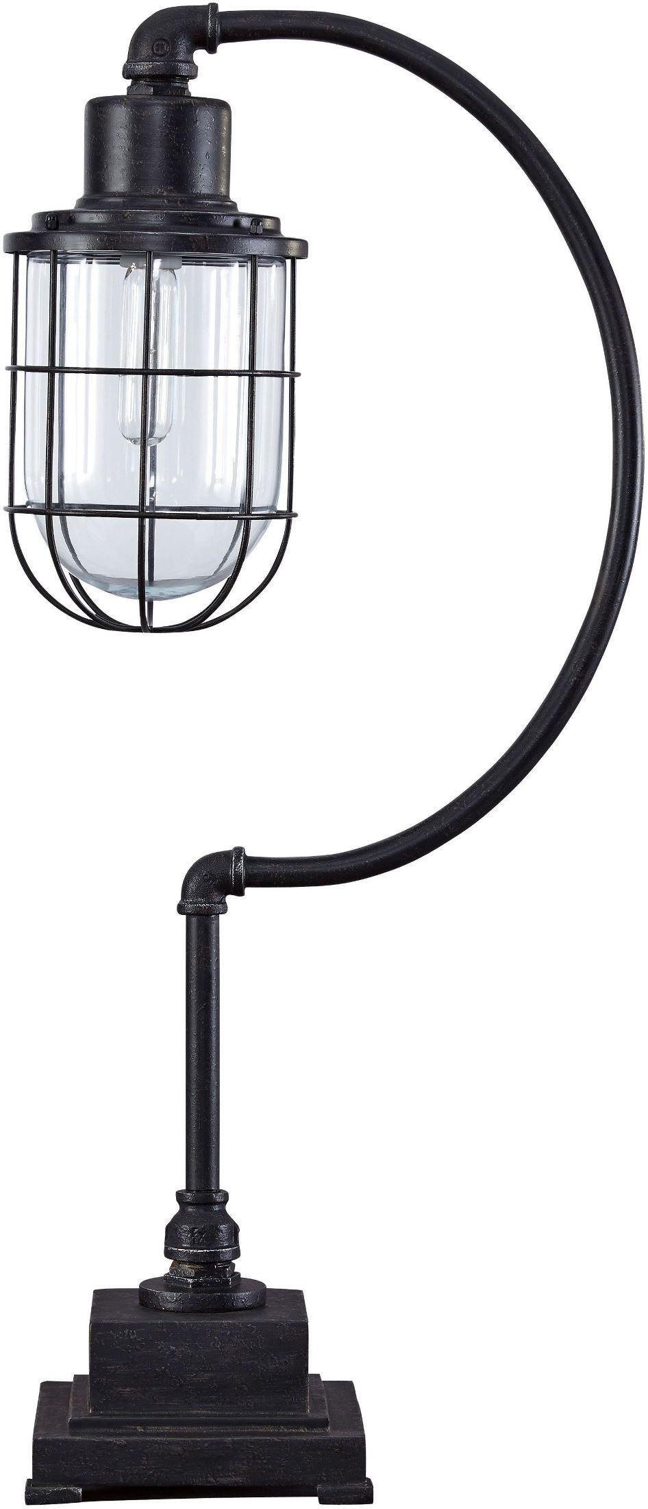 jae antique black metal desk lamp l734232 ashley. Black Bedroom Furniture Sets. Home Design Ideas