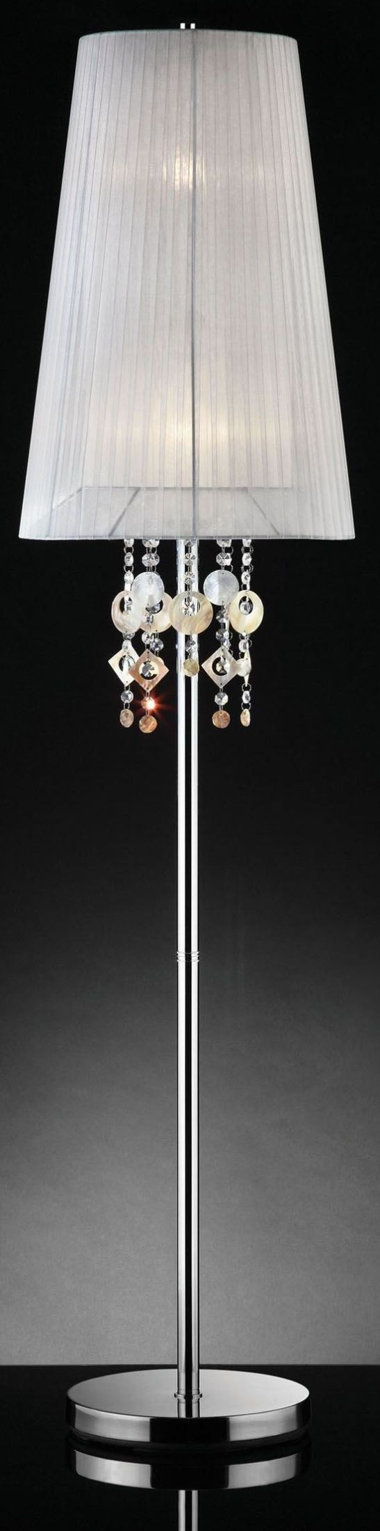 lucille chrome hanging crystal floor lamp from furniture of america. Black Bedroom Furniture Sets. Home Design Ideas
