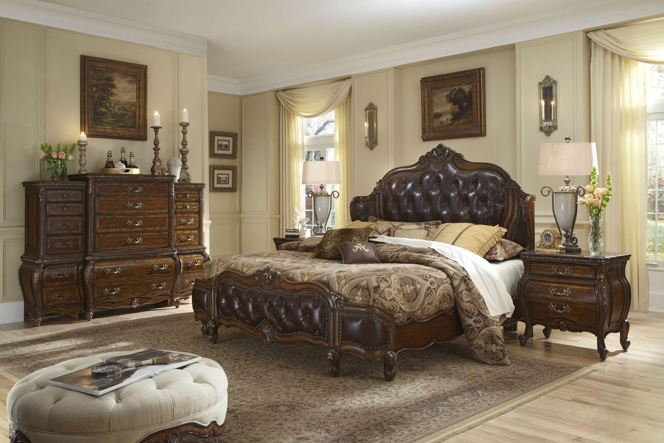 Lavelle Melange Mansion Leather Bedroom Set from Aico