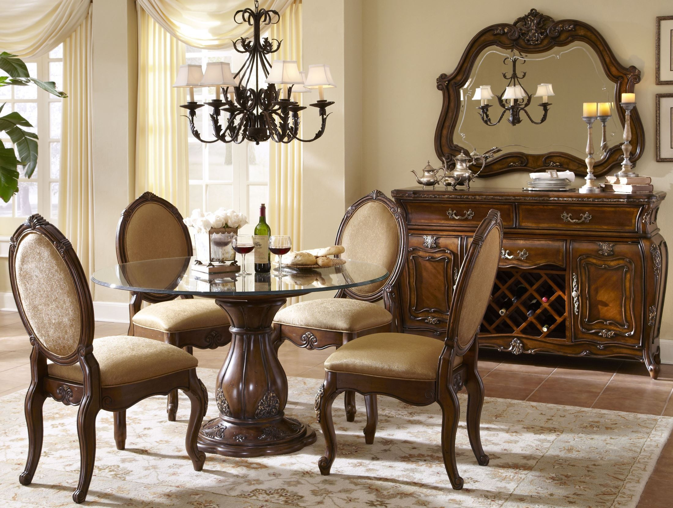 Lavelle Melange 54 Round Glass Top Dining Room Set from