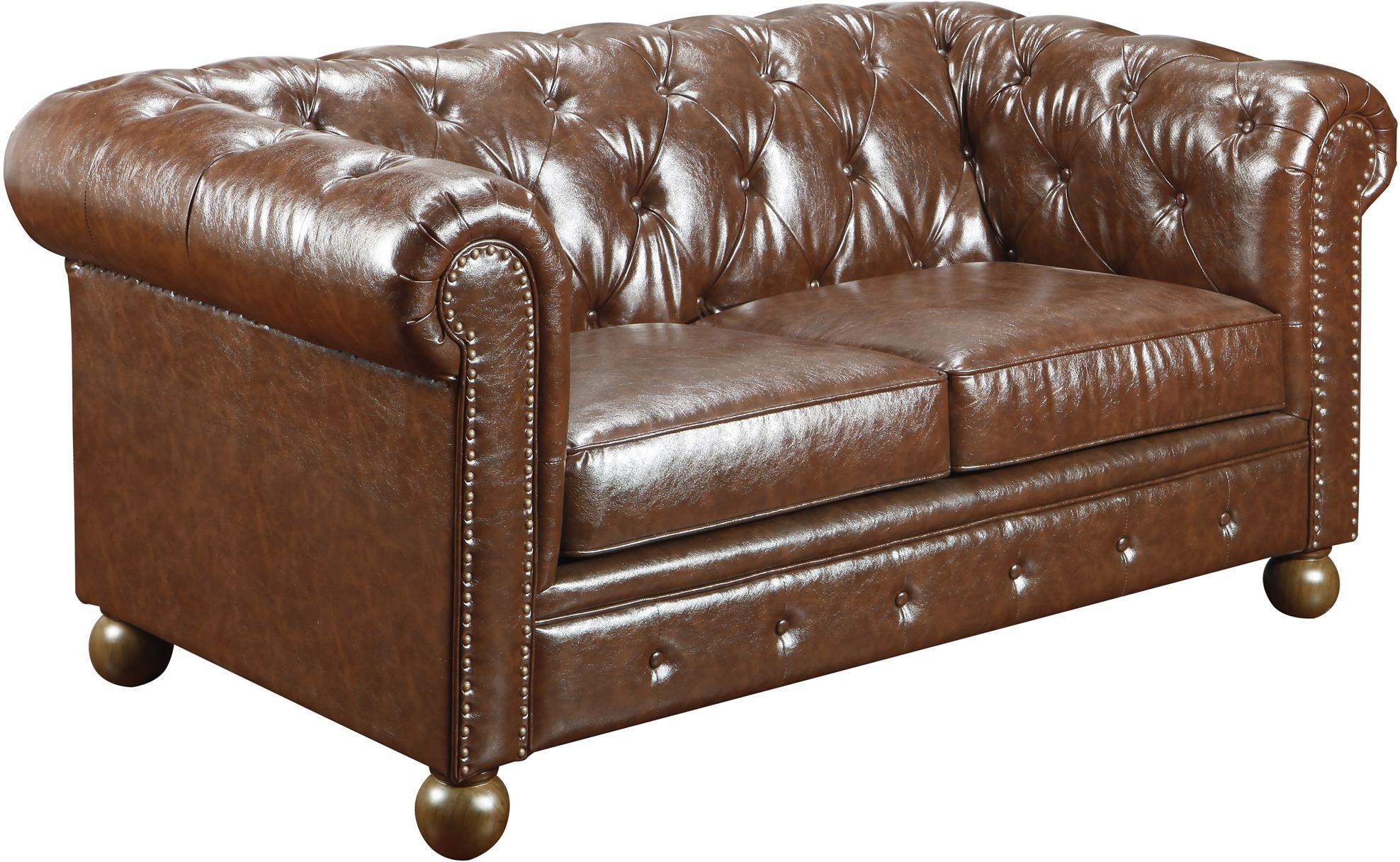 Winston Vintage Mocha Bonded Leather Loveseat Lc10602vico Armen Living