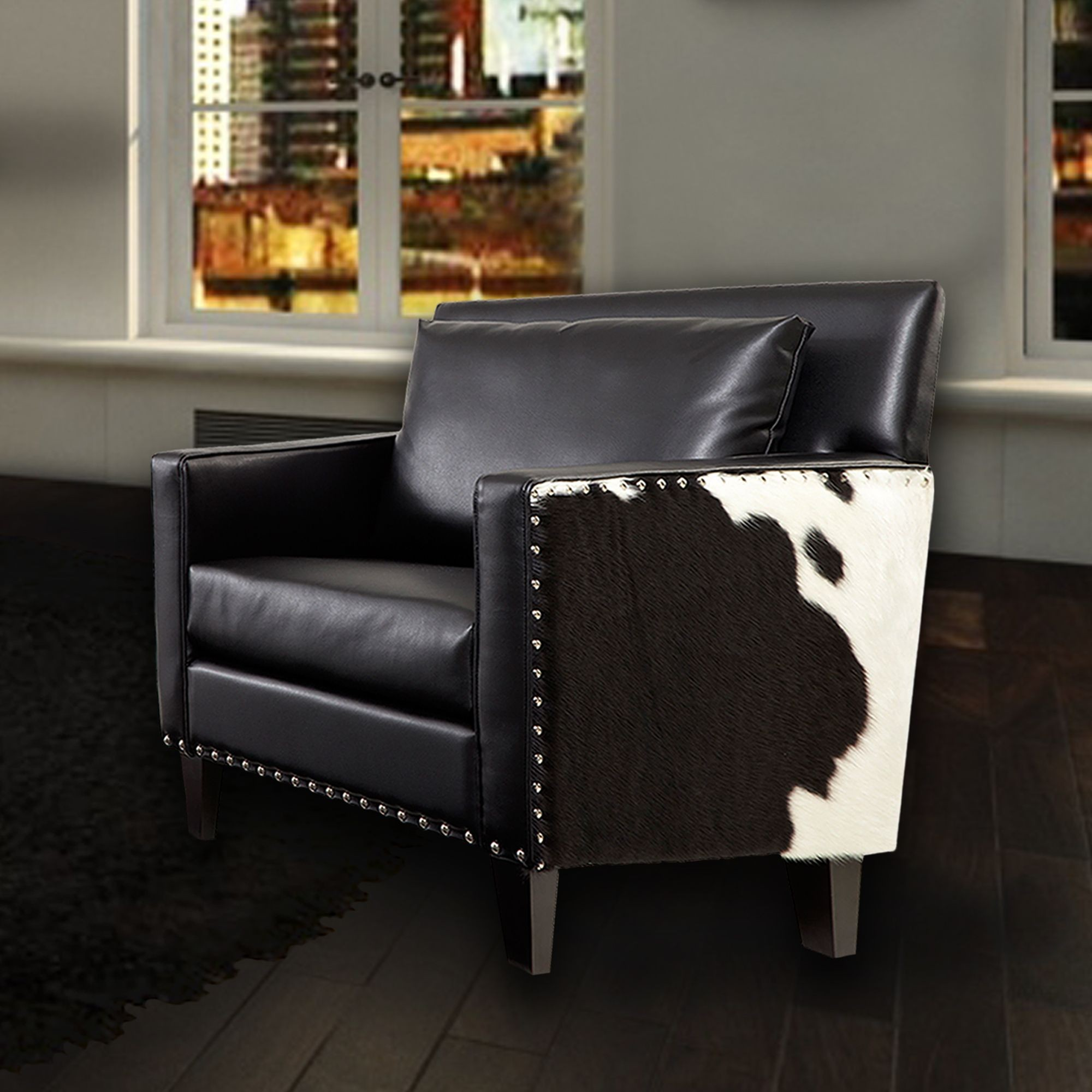 Dallas Black Leather Chair Lc21451bl Armen Living