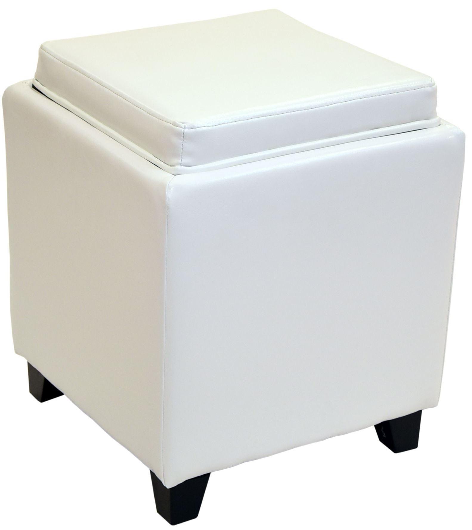 Rainbow white bonded leather storage ottoman with tray for Ottoman with tray and storage