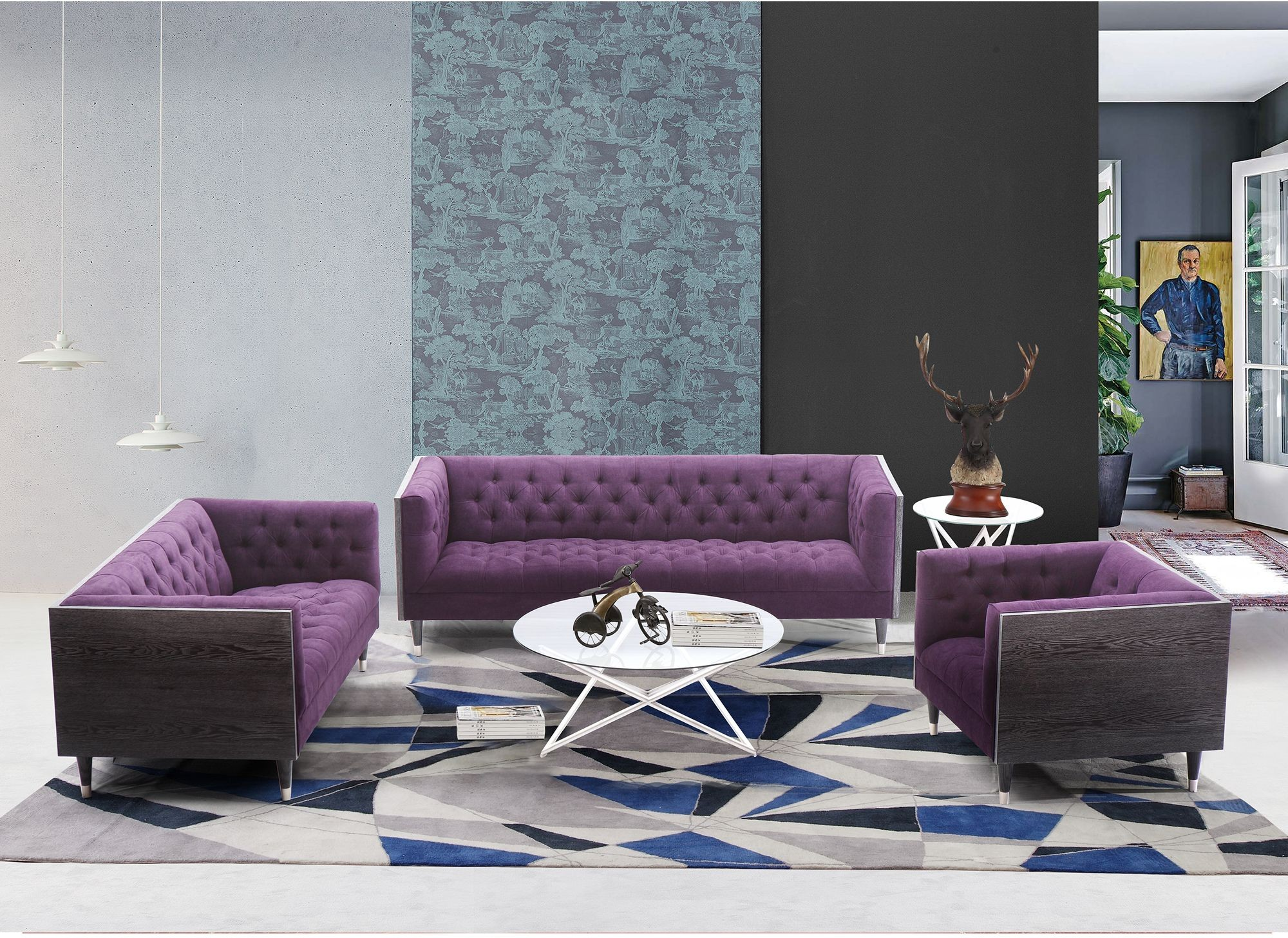 These 6 Pieces Of Colorful Furniture Are Absolute Must Haves: Bellagio Purple Fabric Living Room Set, LCBE3PU, Armen Living