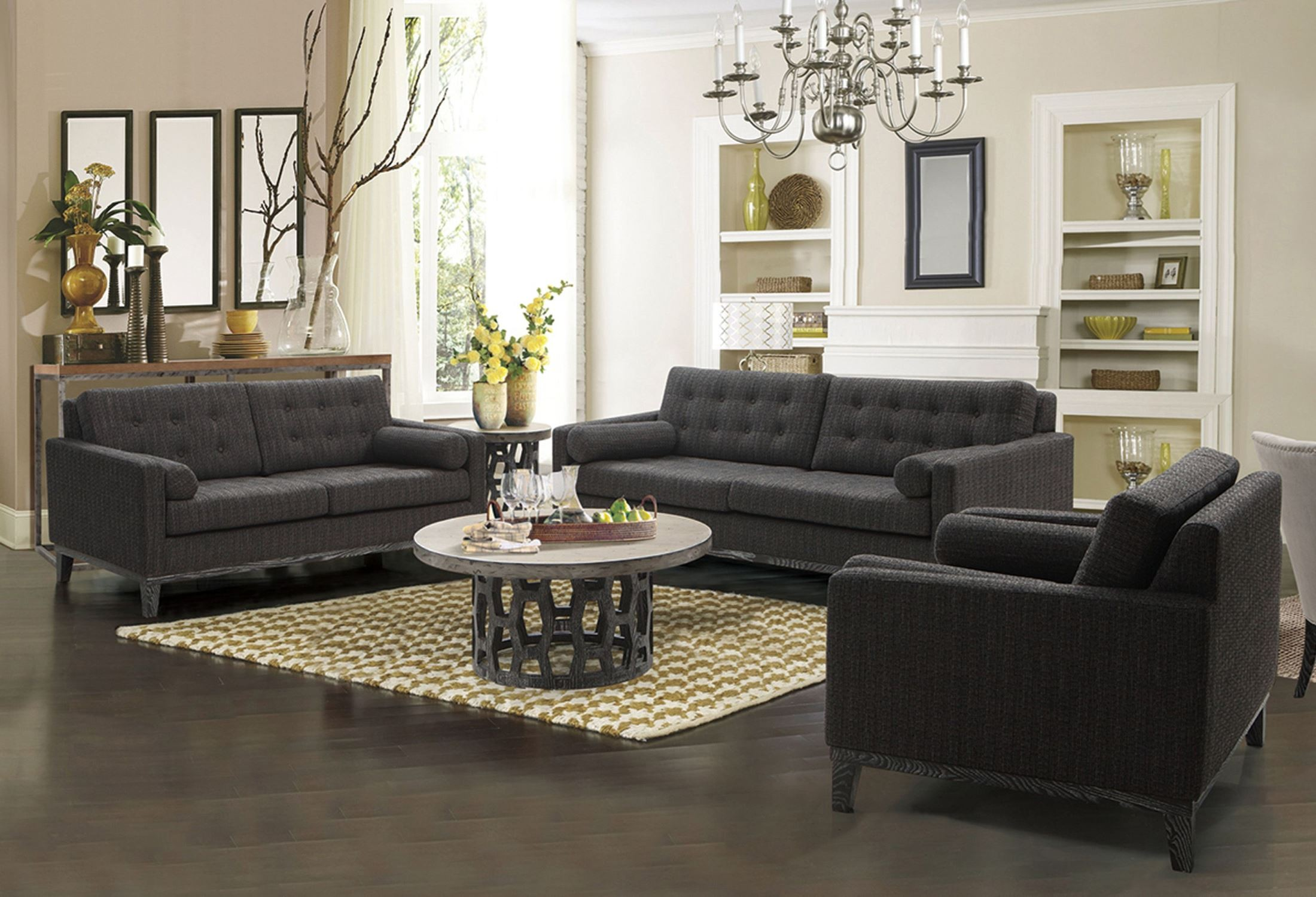 Centennial Charcoal Chenille Fabric Living Room Set Lccn3ch Armen Living