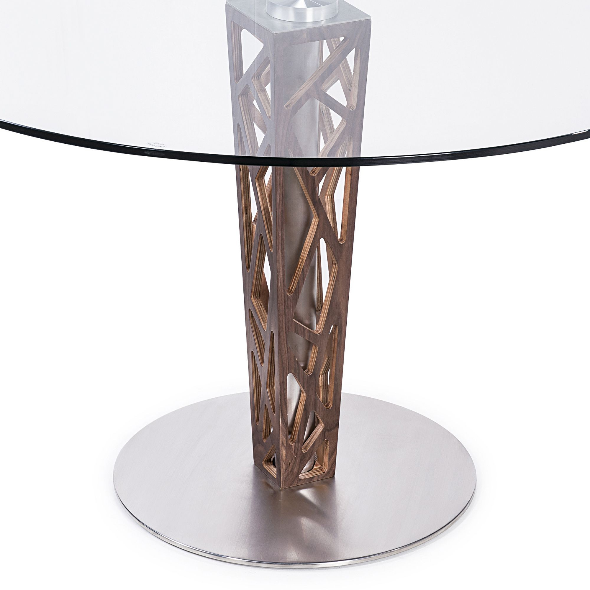 Crystal 48 clear tempered glass top round dining table for Round glass top dining table
