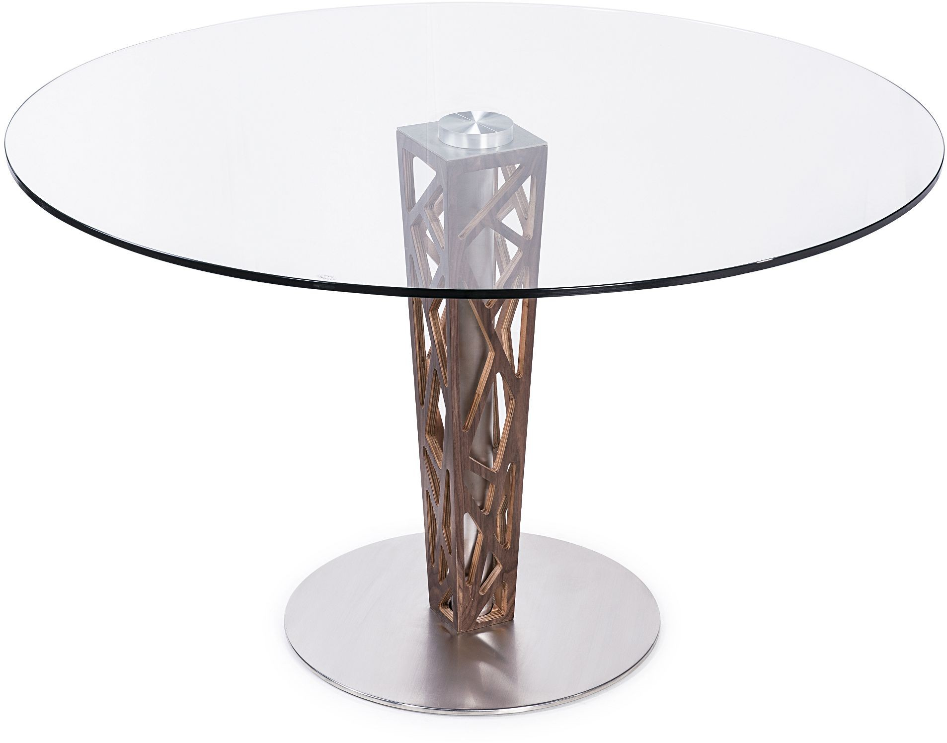 Crystal 48 clear tempered glass top round dining table for Tempered glass dining table