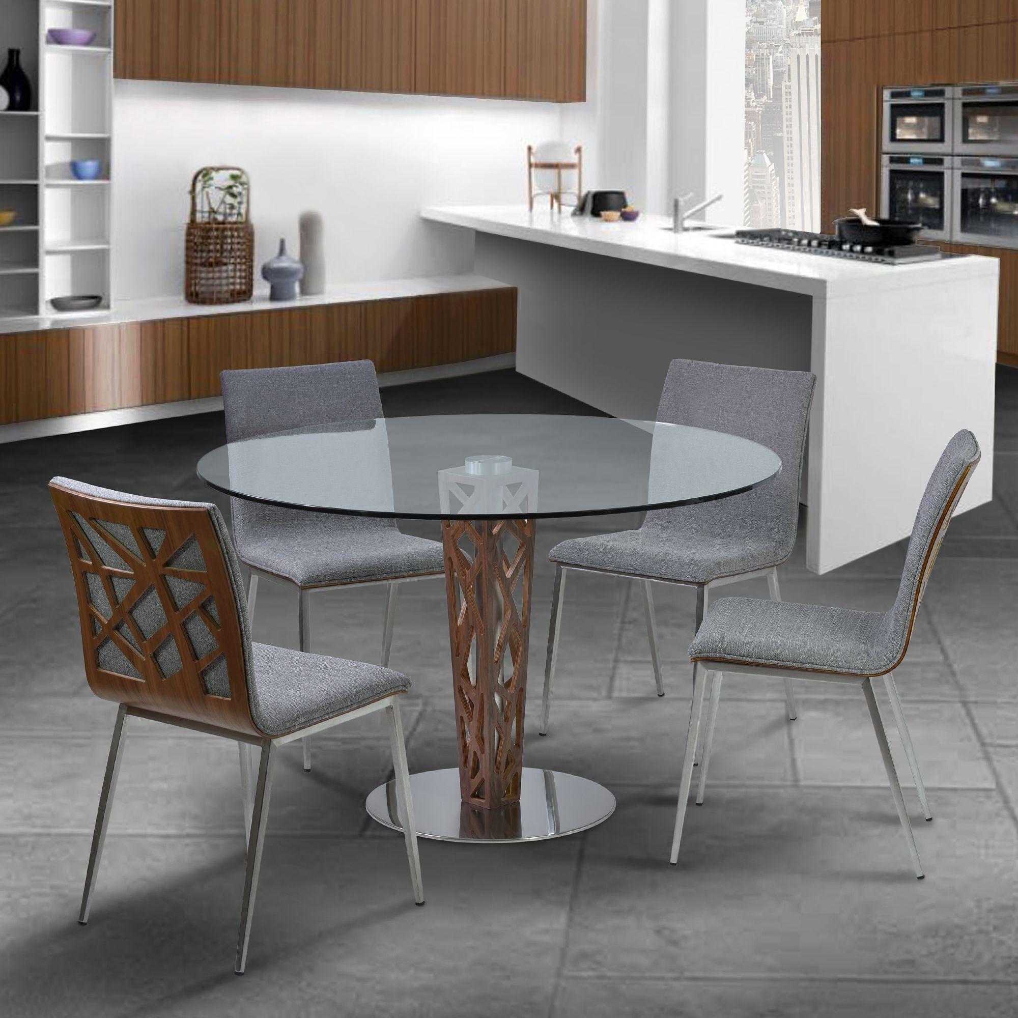 crystal 48 clear tempered glass top round dining room set. Black Bedroom Furniture Sets. Home Design Ideas