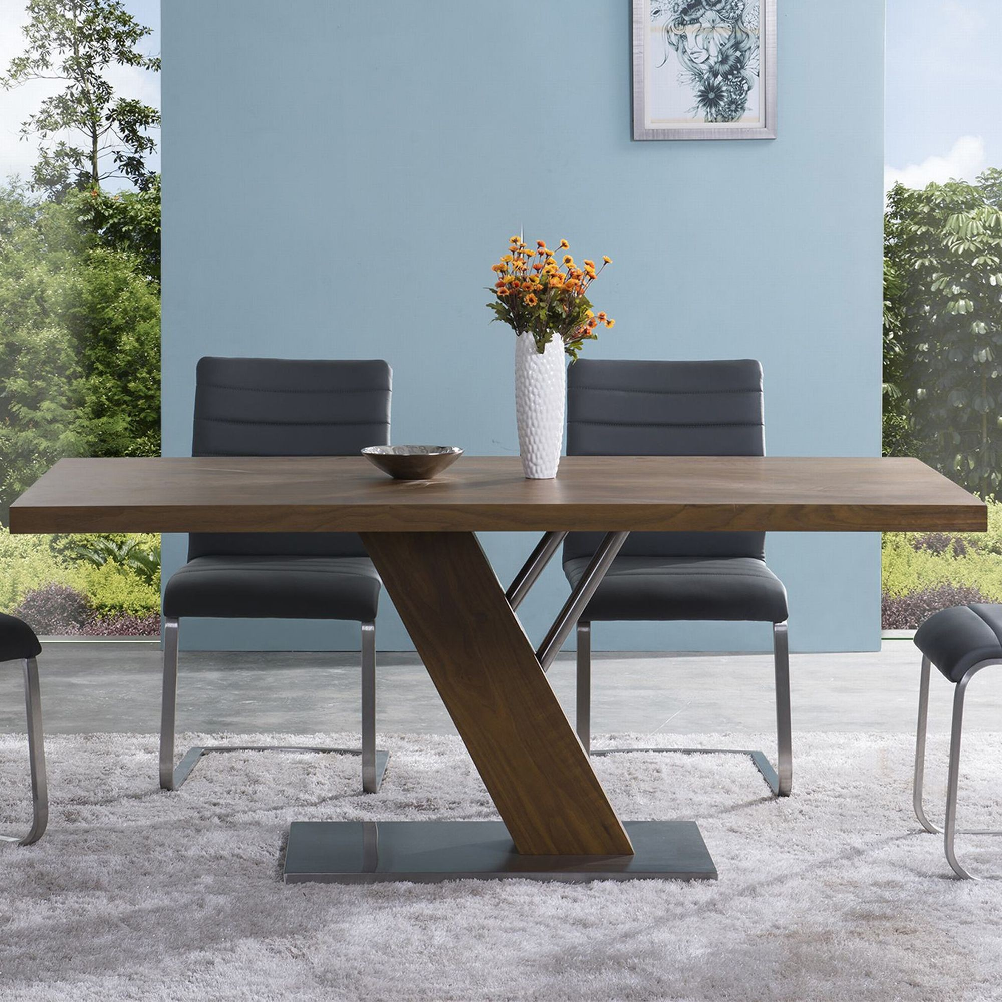 Fusion contemporary stainless steel dining table for Stainless steel dining table