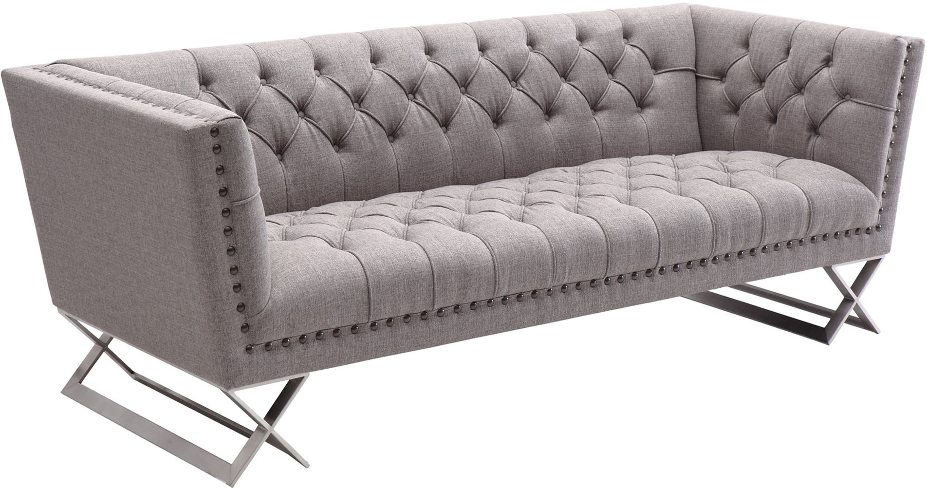 Odyssey grey tweed upholstery sofa lcod3gr armen living for Grey tweed couch