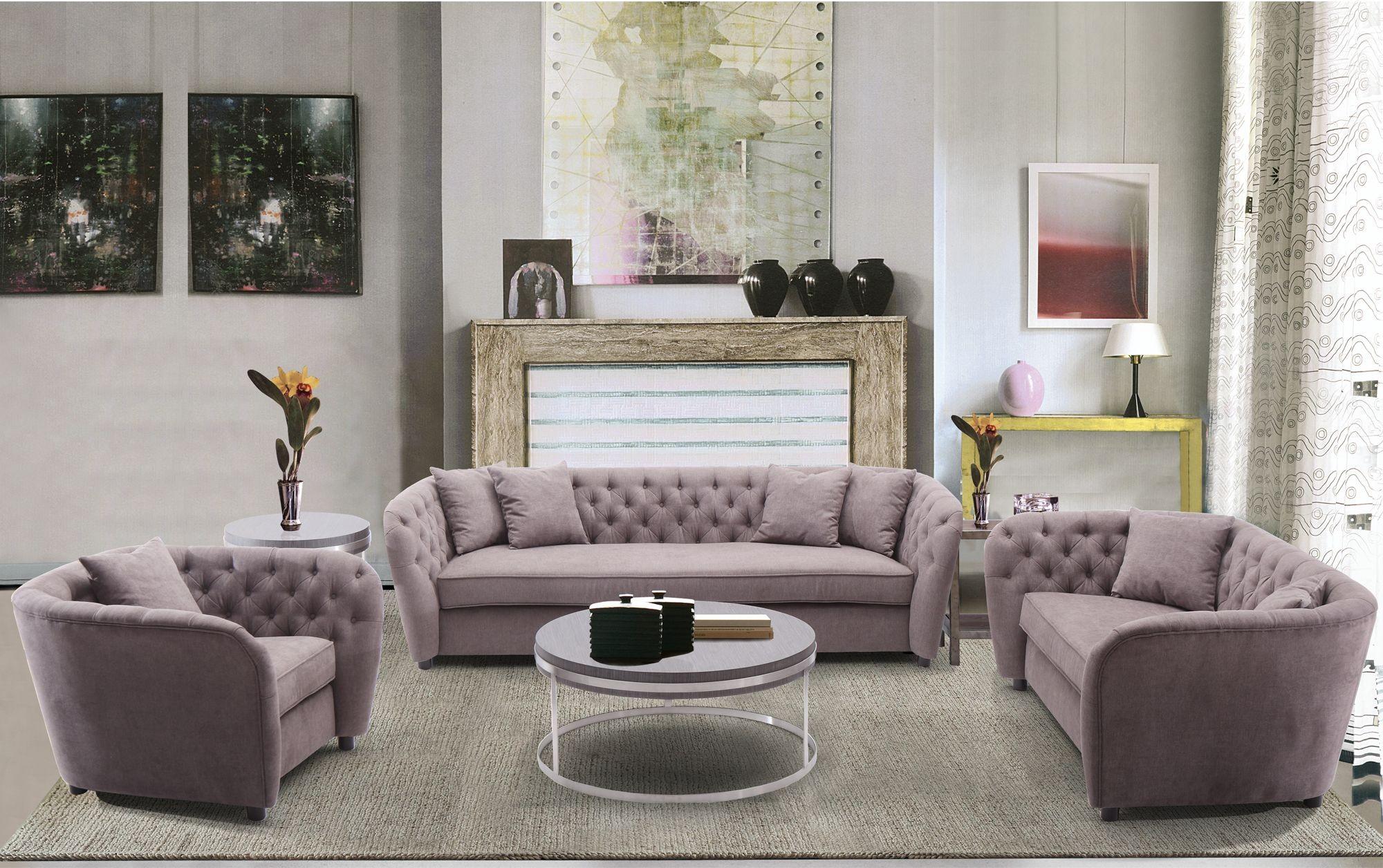 Rhianna Brown Tufted Transitional Living Room Set