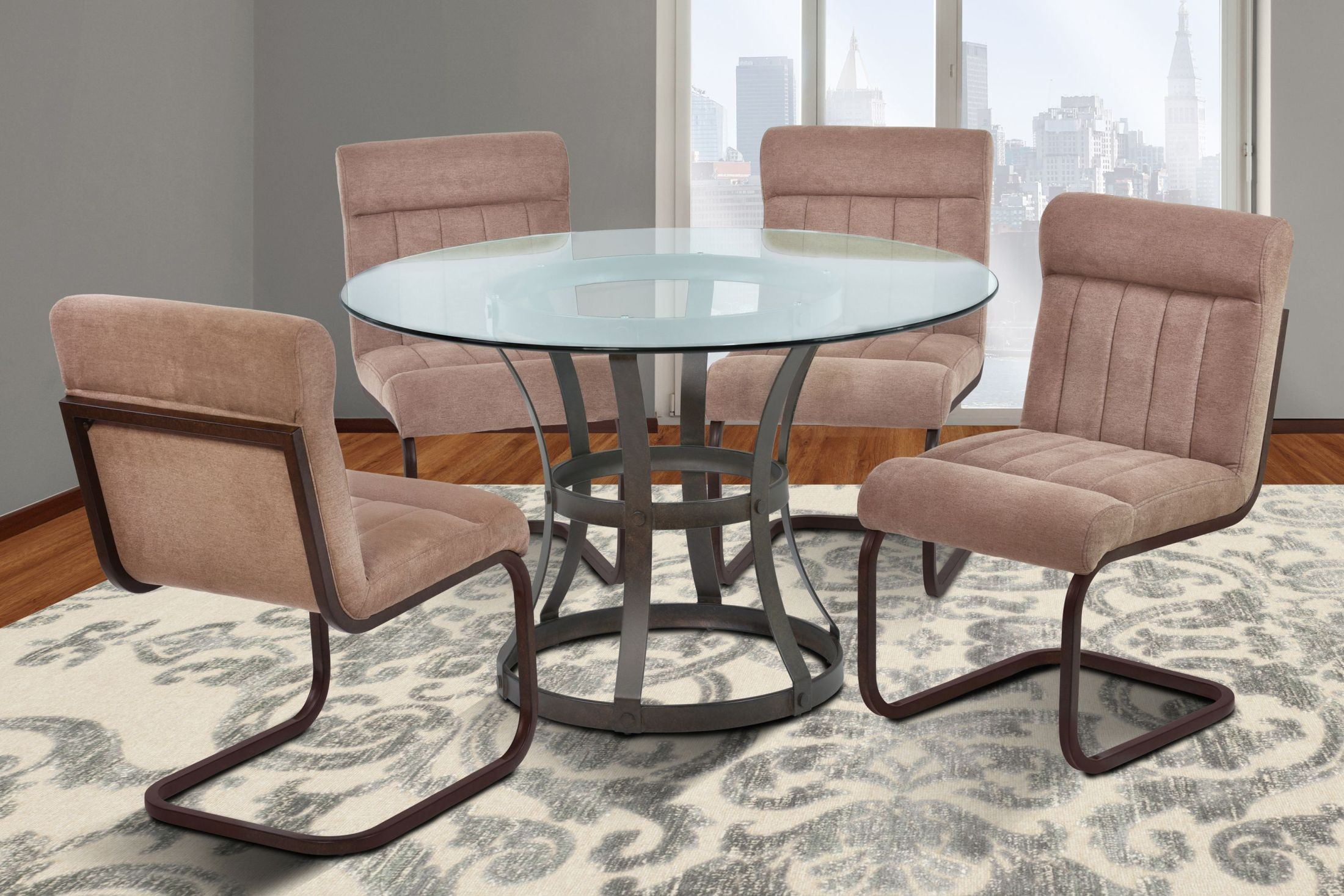Vancouver 48 glass auburn bay round dining room set for Dining room tables vancouver