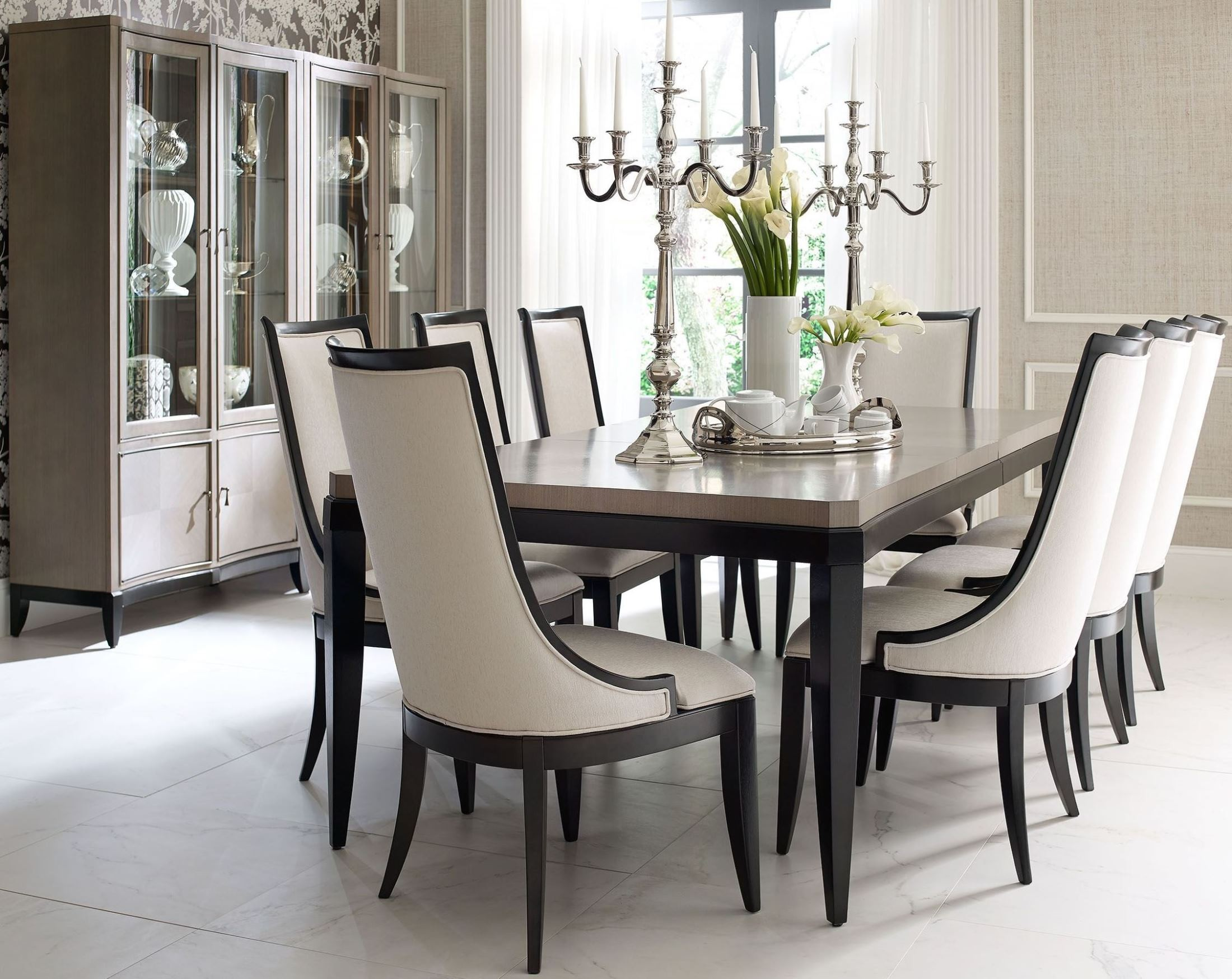 symphony platinum black tie extendable rectangular dining table from legacy classic 5640 221. Black Bedroom Furniture Sets. Home Design Ideas