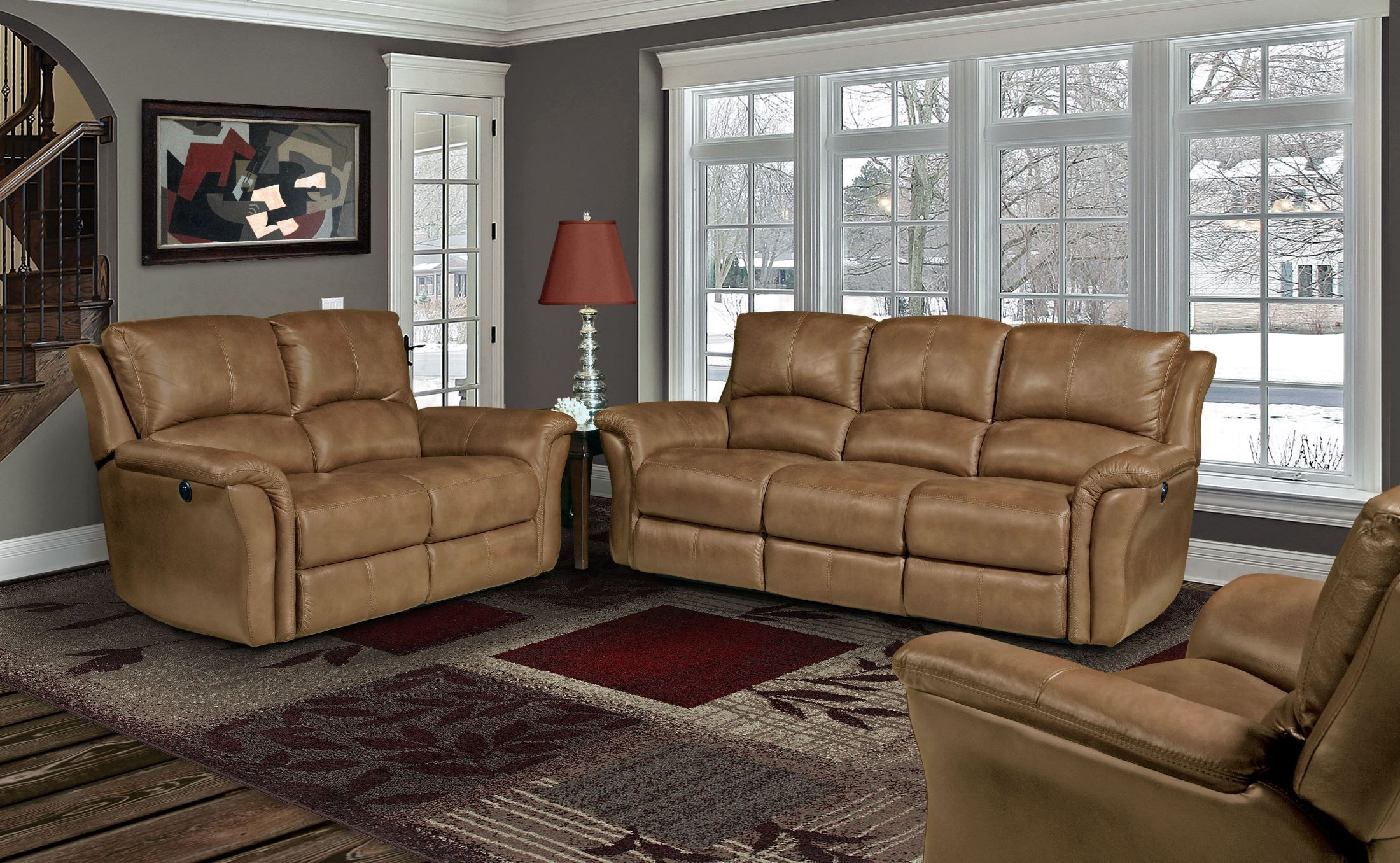 Lewis Camel Dual Power Reclining Living Room Set Mlew
