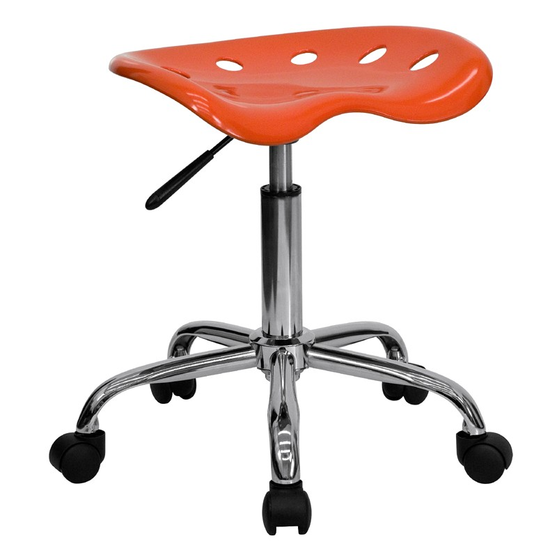 Tractor Seats Classrooms : Vibrant orange red tractor seat and chrome stool