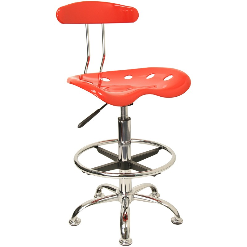 Chrome Tractor Seats : Vibrant red and chrome drafting stool with tractor seat