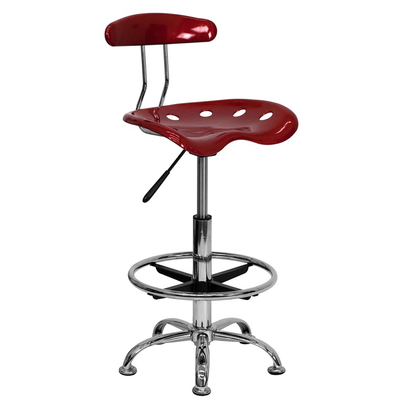 Chrome Tractor Seats : Vibrant wine red and chrome drafting stool with tractor