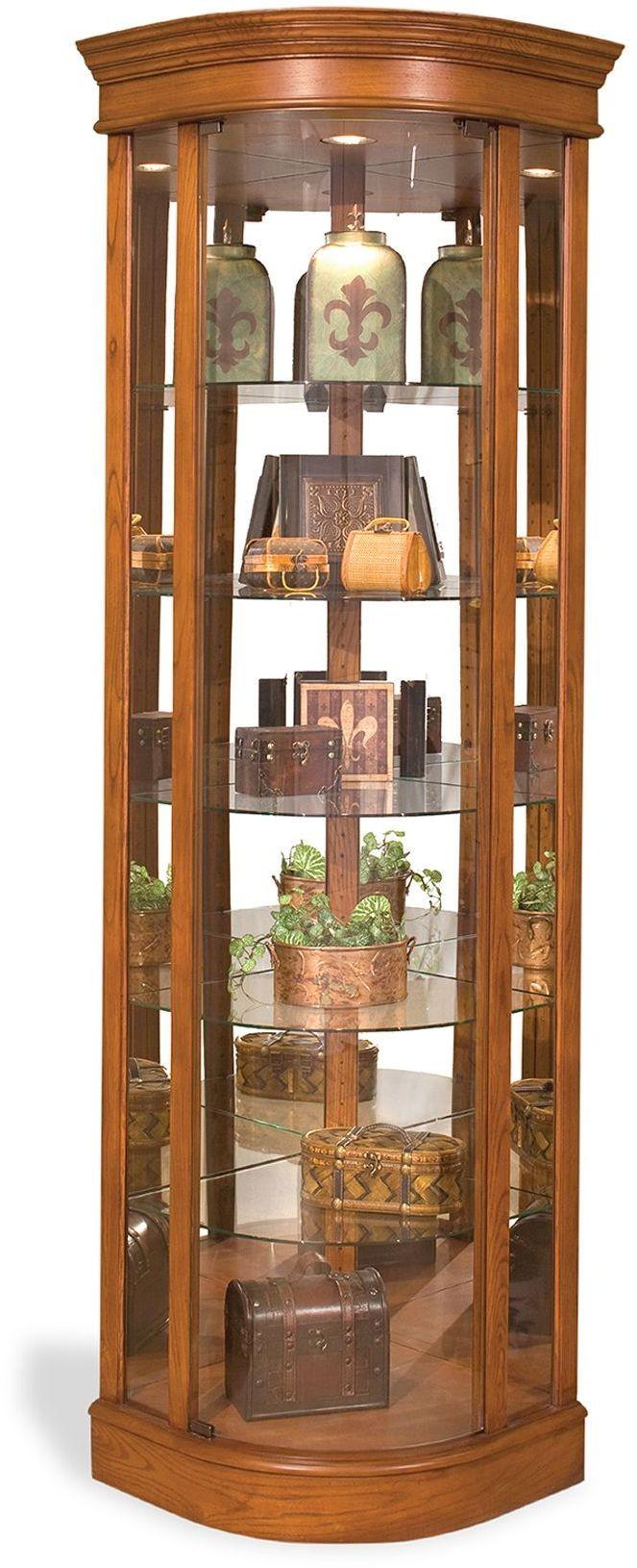 Lighthouse Old Oak Auberage Ii Curved Corner Curio Cabinet 15951 Philip Reinisch
