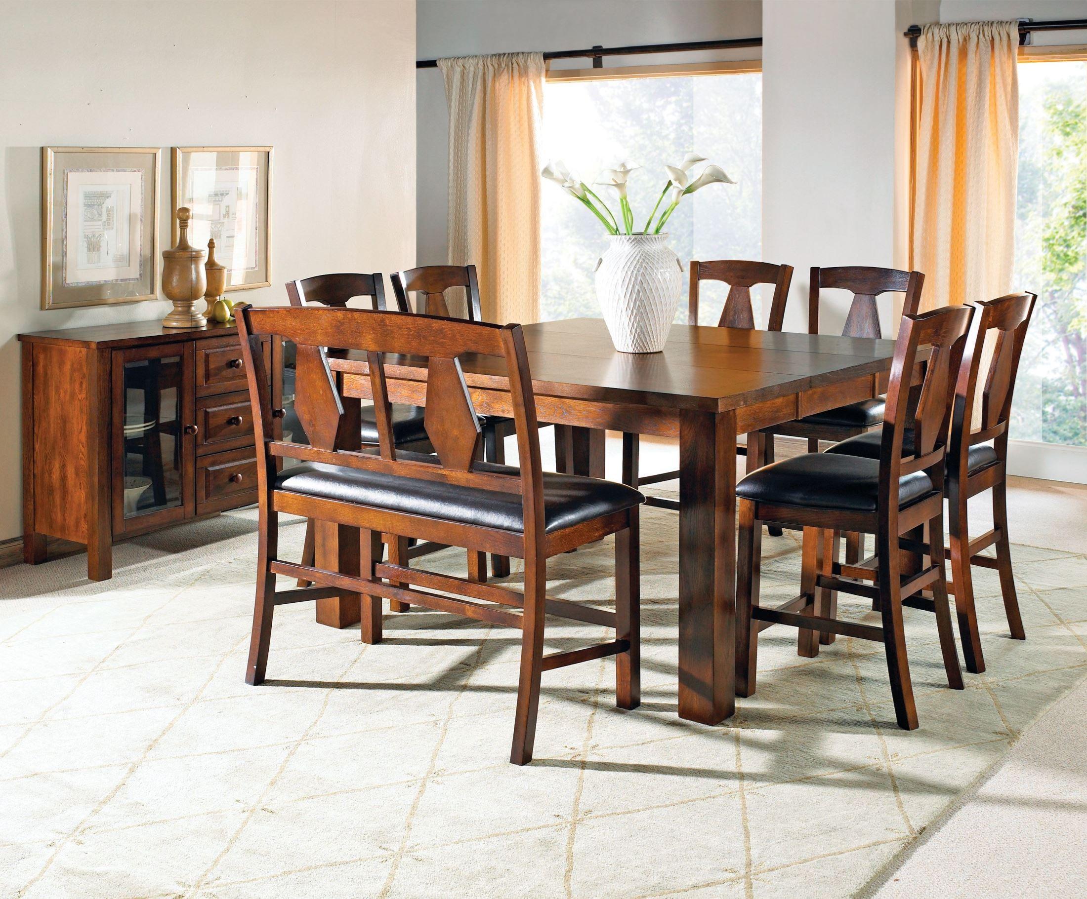 Counter Height Rectangular Dining Set : Lakewood Medium Oak Extendable Rectangular Counter Height Dining Set ...