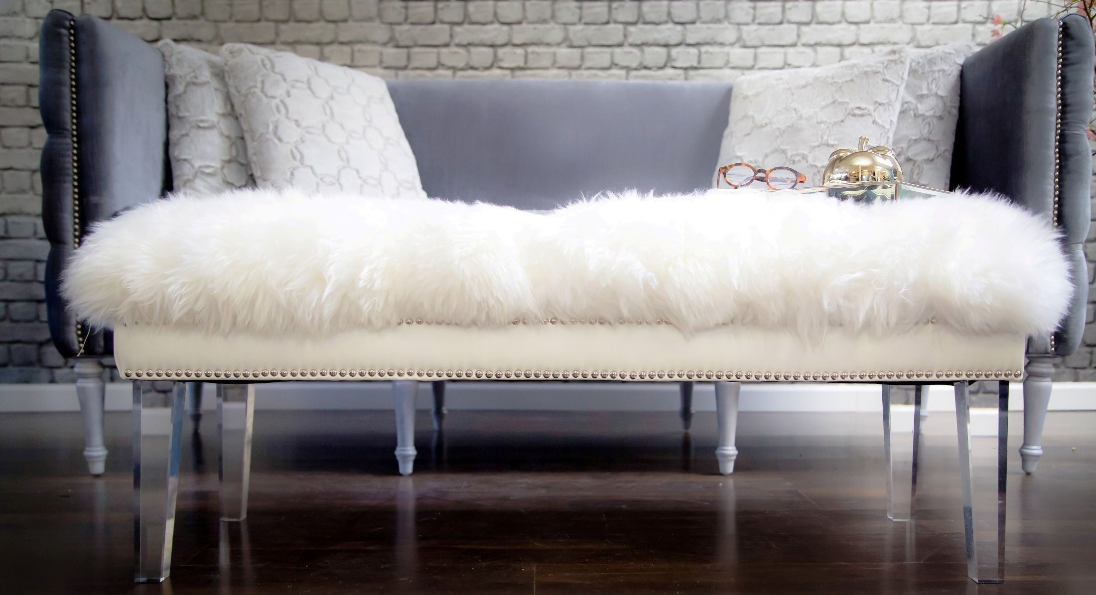 Luxe White Sheepskin Lucite Bench From Tov Tov O22 Coleman Furniture
