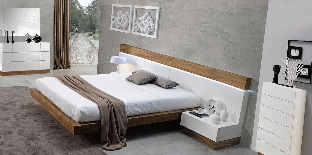 madrid natural white lacquer platform bedroom set 179321 q jnm