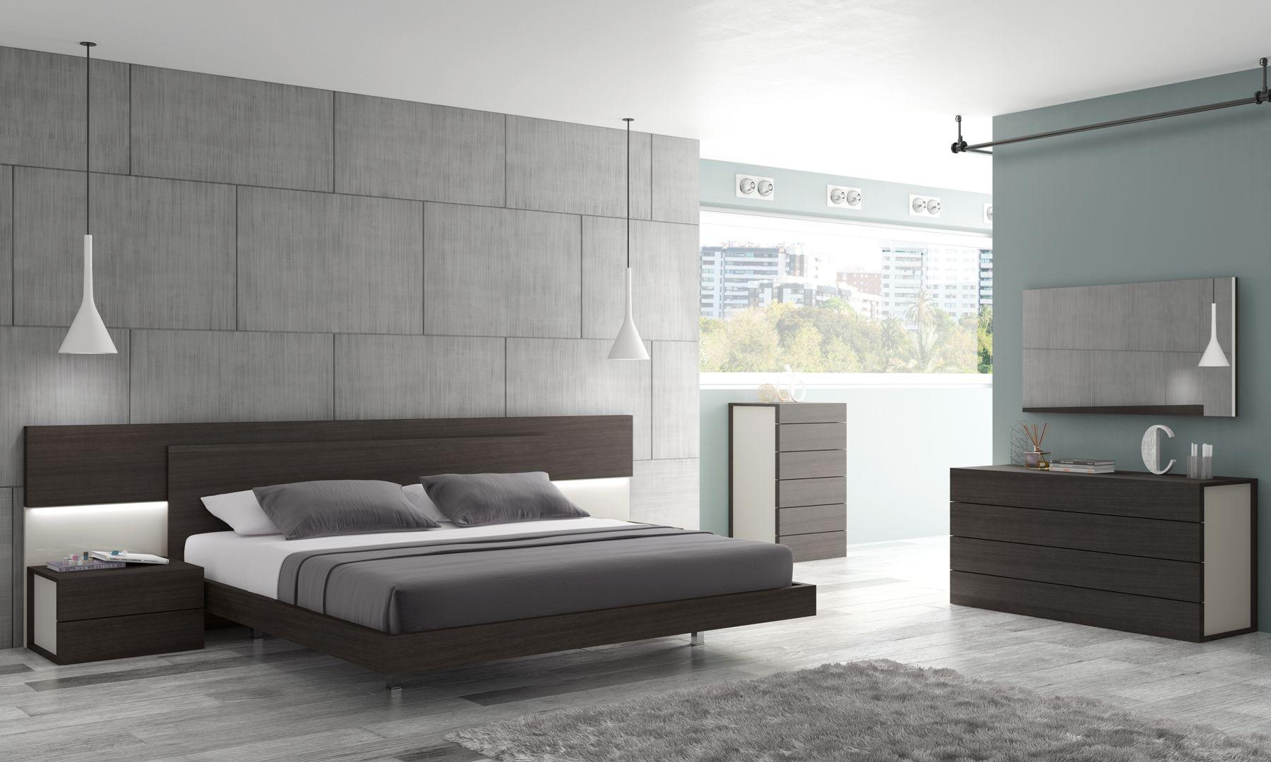 Maia Light Grey Lacquer Platform Bedroom Set from J&M
