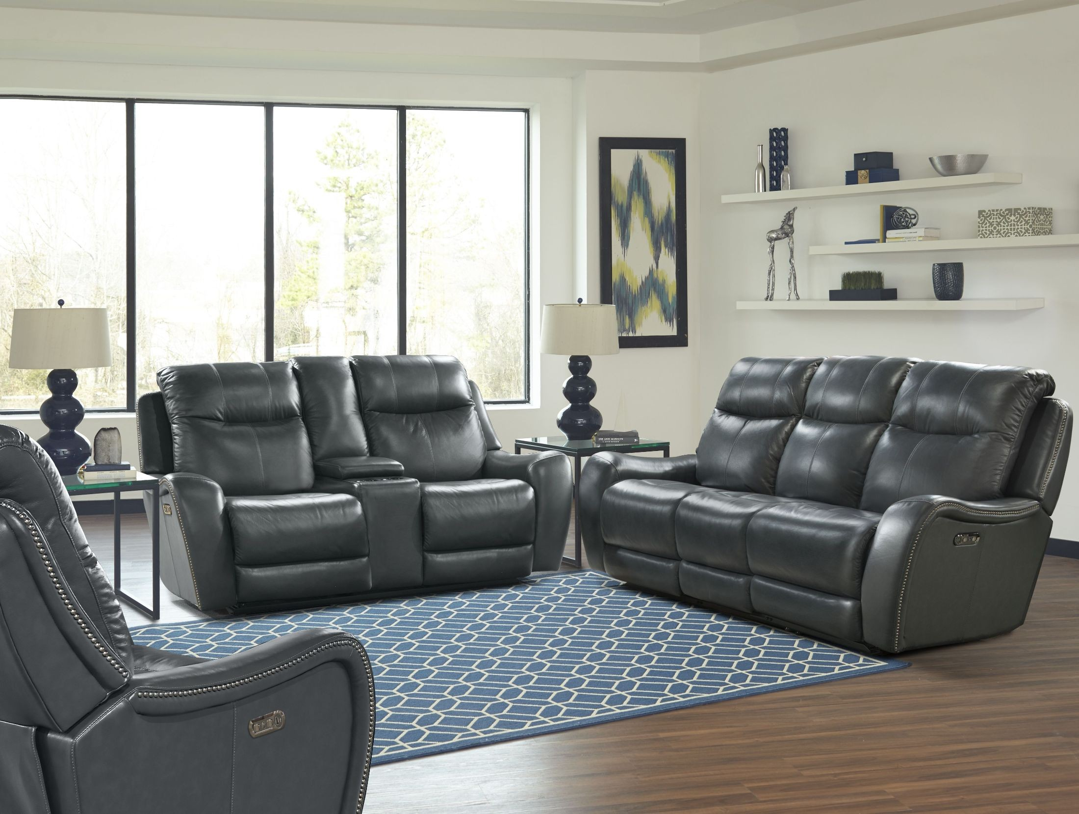 mammoth denim dual power reclining living room set mmam 832ph den