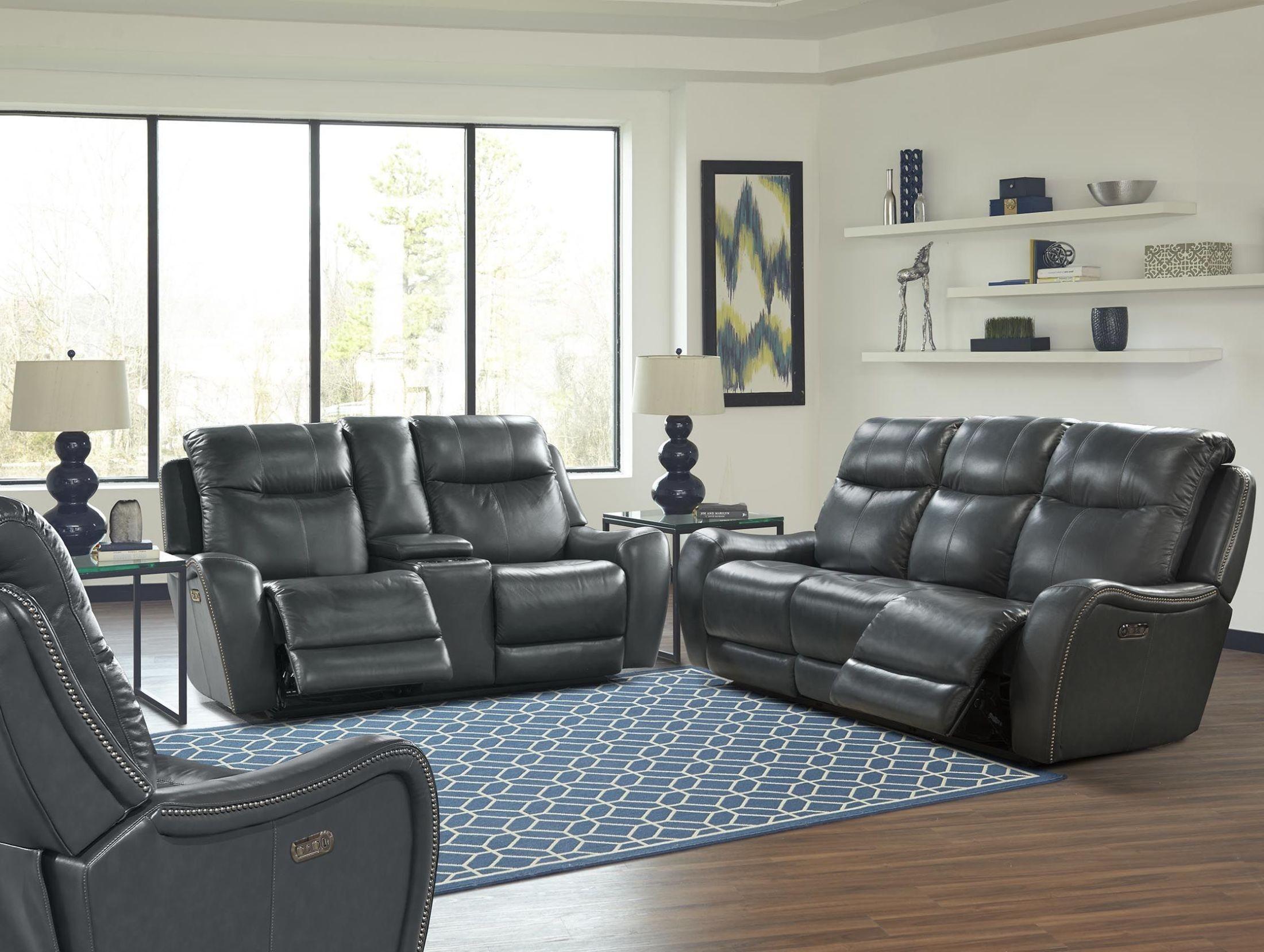 Mammoth Denim Dual Power Reclining Living Room Set Mmam