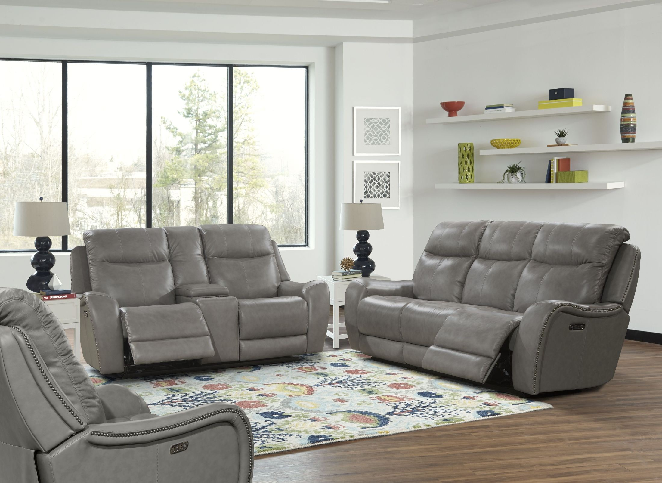 Mammoth grey dual power reclining living room set mmam for Grey front room furniture