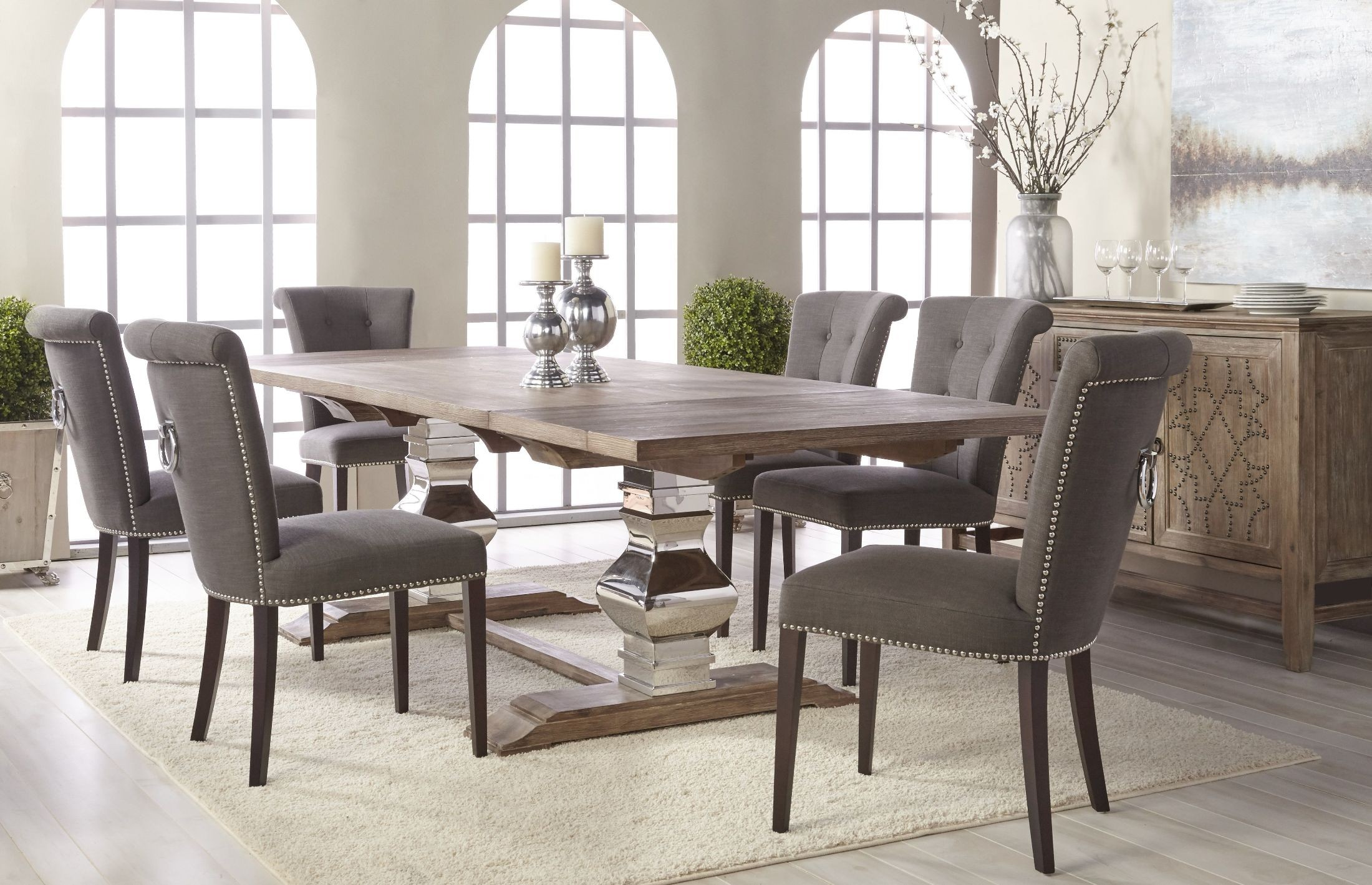 Manor Gray Wash Extendable Dining Table 6095 Stl Gw