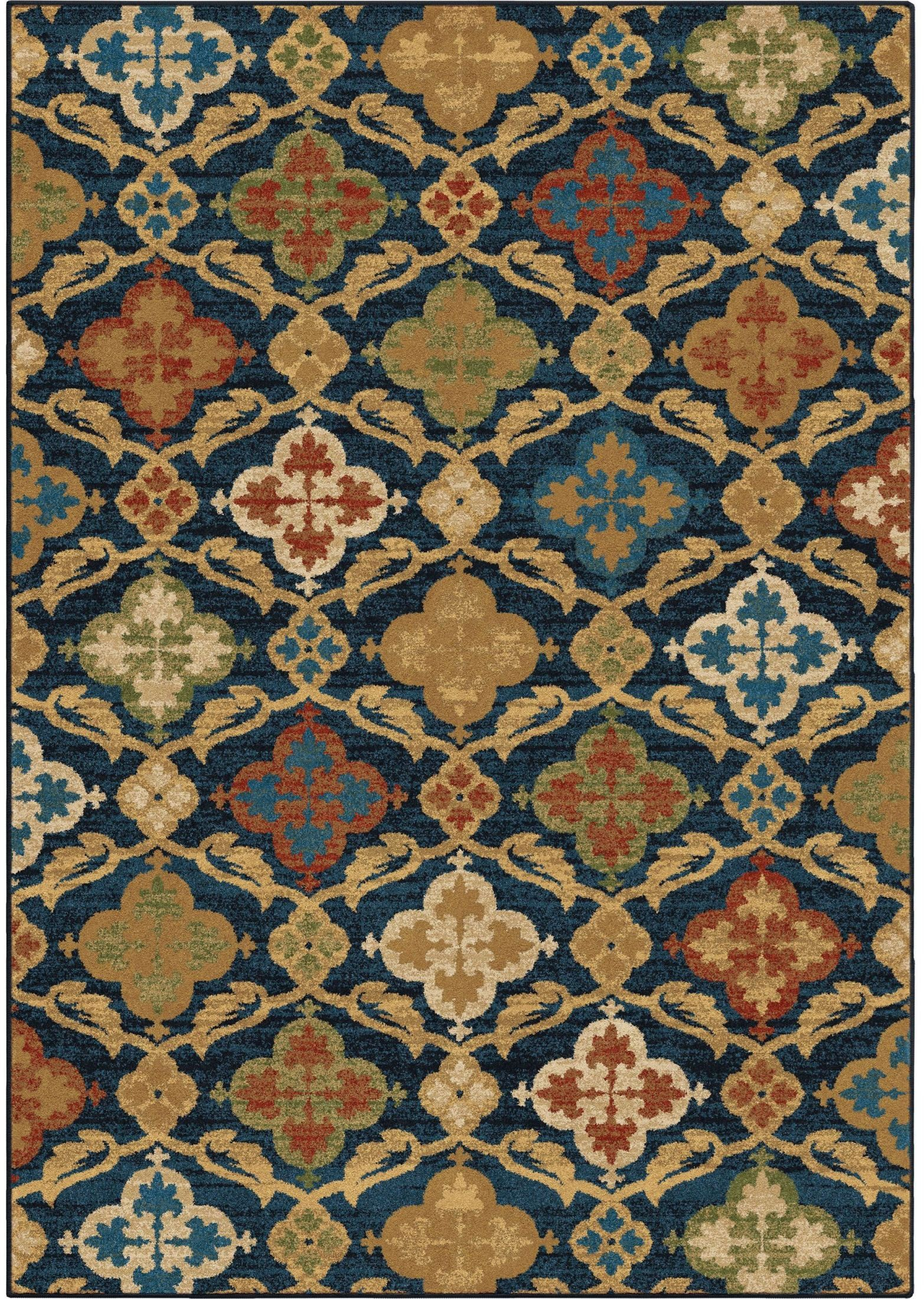 Orian rugs bright color medallion tuscan field blue area for Bright blue area rug
